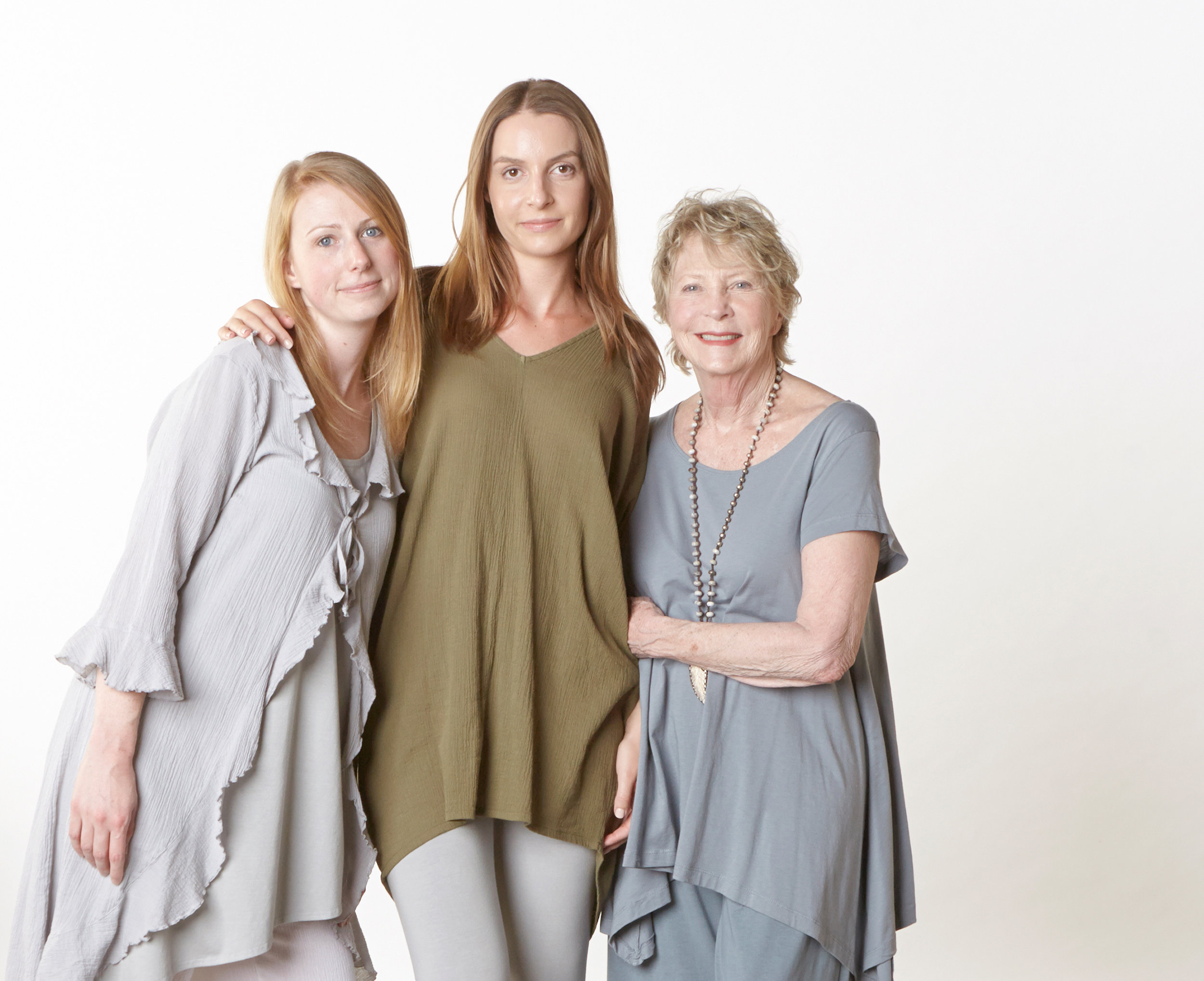 Camille Cardigan in Pier, Raquel Tunic in Grove Cotton Gauze, Charlie Shirt in Loon Pima Cotton