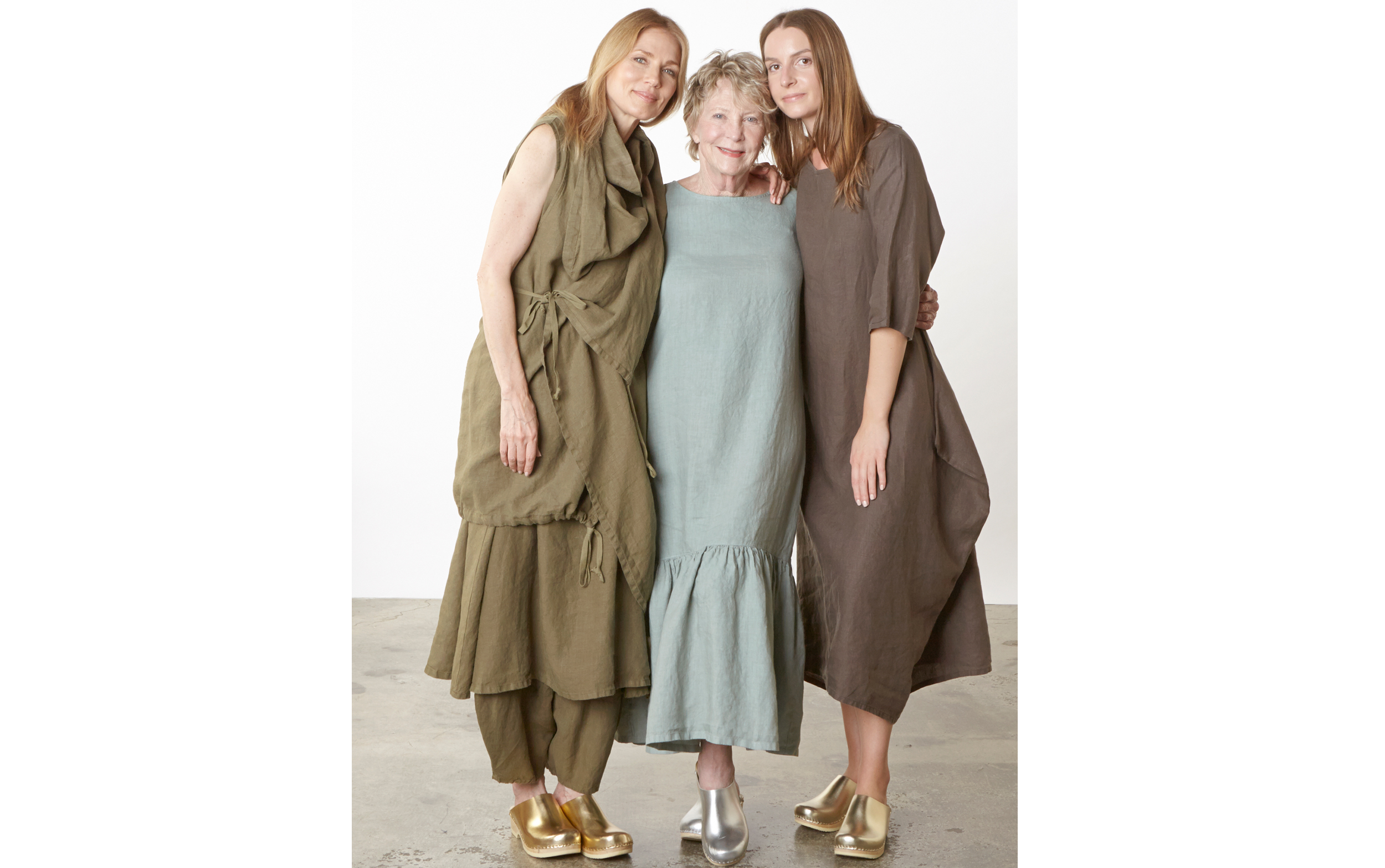 Eve Vest, Henrietta Dress, Oliver Pant in Grove, Seraphina Dress in Shore, Pilkington Dress in Kvass Light Linen