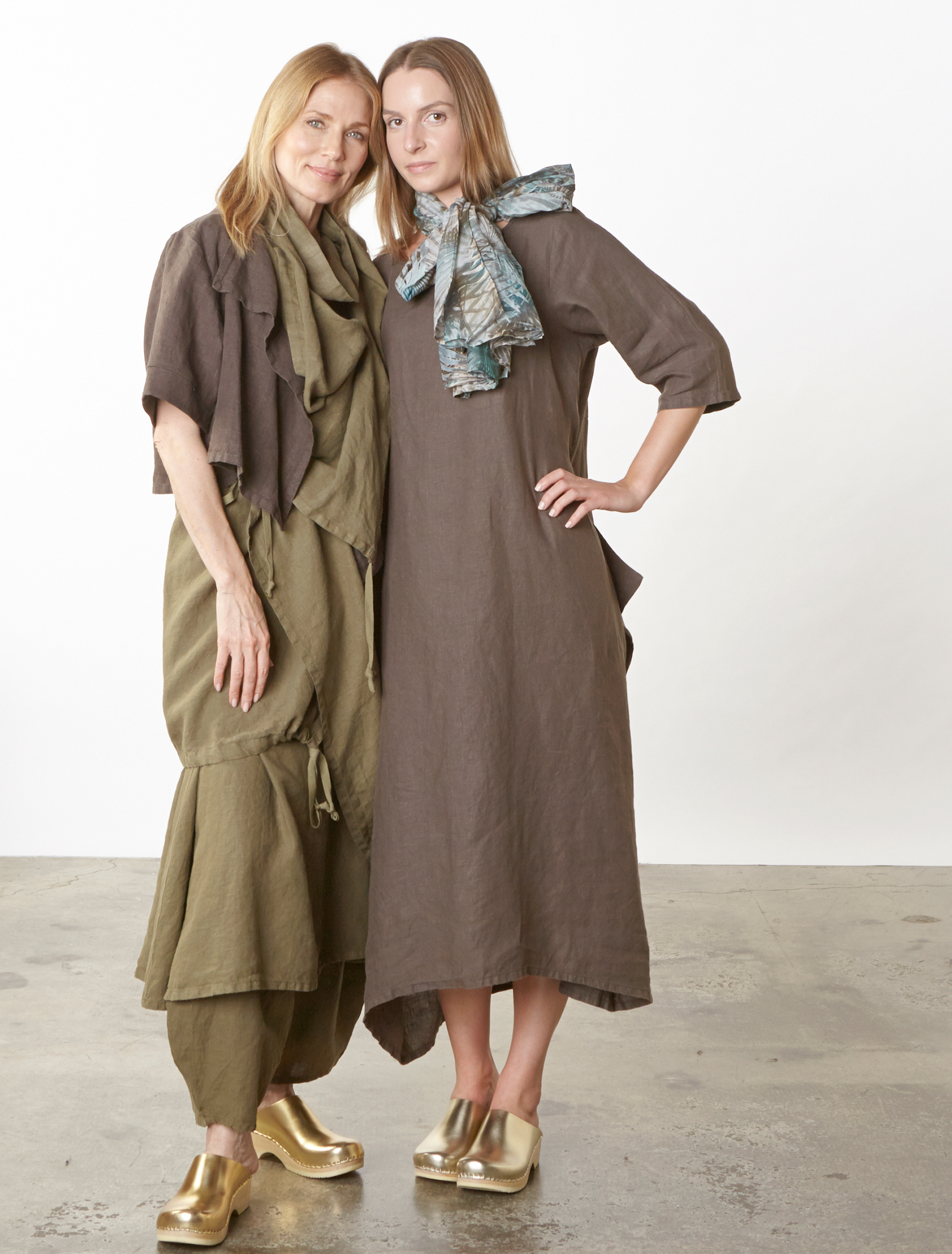 Malin Jacket in Kvass Heavy Linen, Eve Vest, Henrietta Dress, Oliver Pant in Grove, Pilkington Dress in Kvass Light Linen