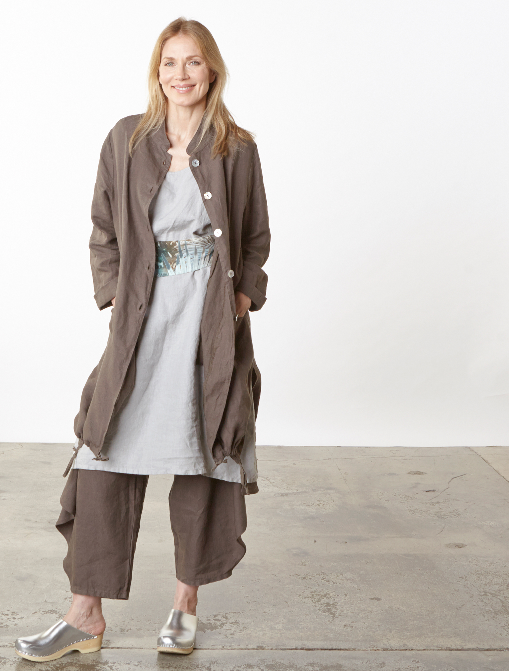 Emerson Jacket, Hamish Pant in Easel, Luella Dress in Pier Light Linen