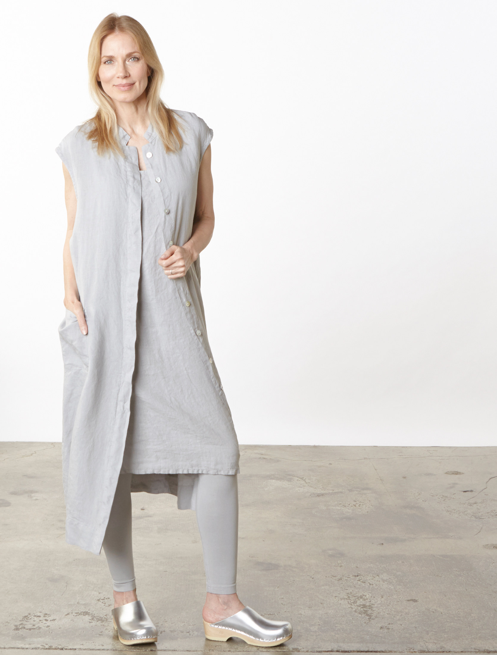 Keaton Vest, Luella Dress in Pier Light Linen, Legging in Pier Organic Bamboo Cotton