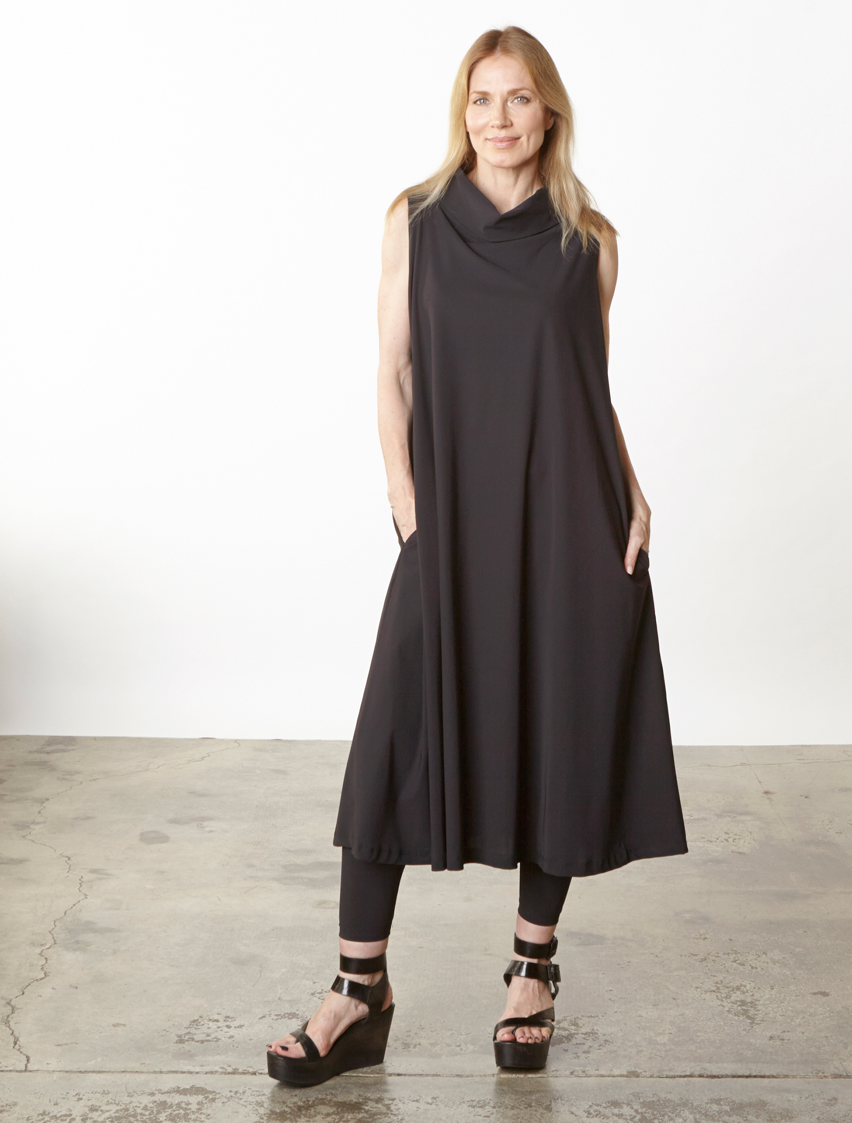 Henrietta Dress in Black Italian Microfiber Jersey