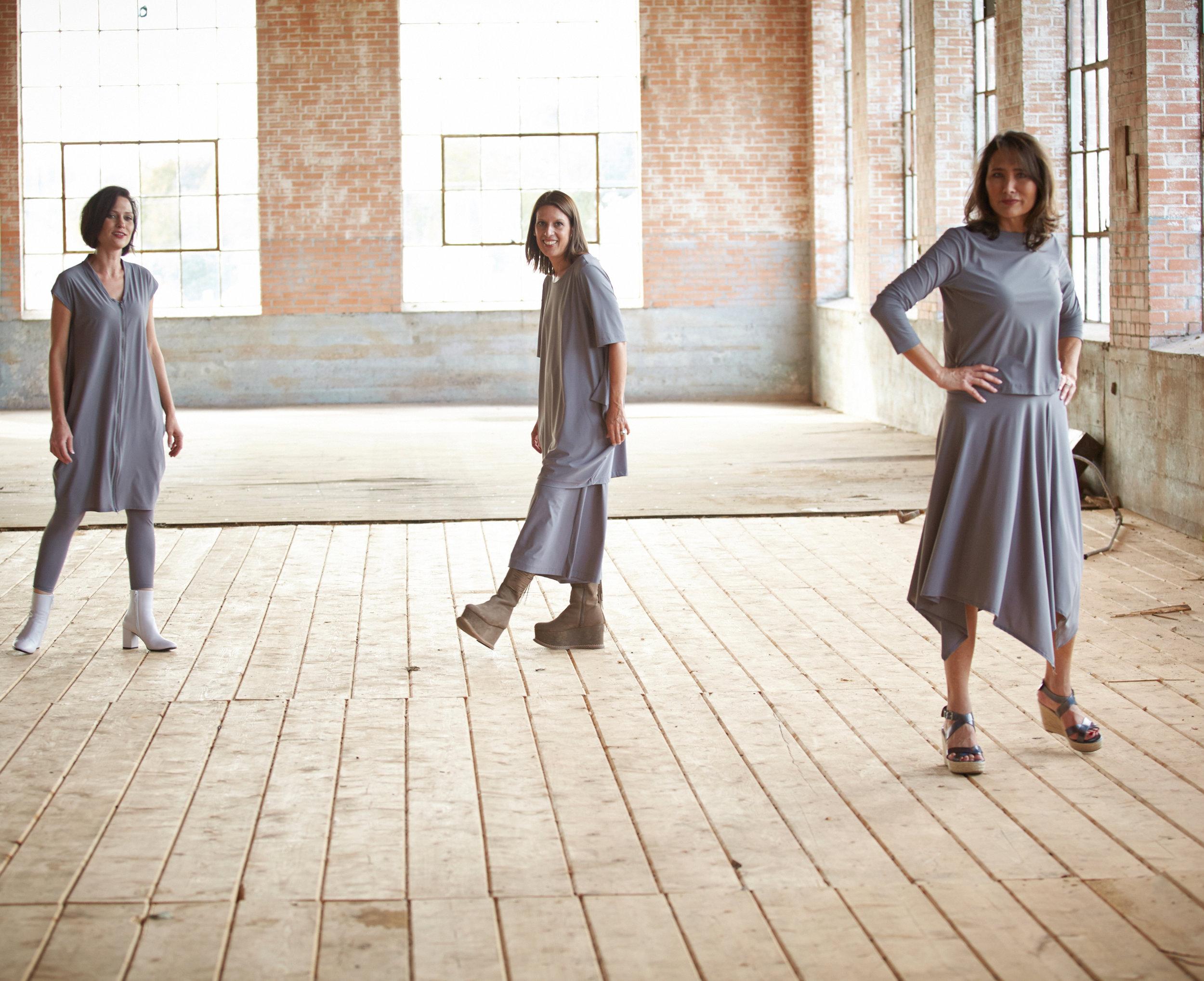 Hayden Tunic, Crop Low Rise Legging, Conrad Tunic, Ella Pant, Bianca Skirt in Grey Italian Microfiber Jersey
