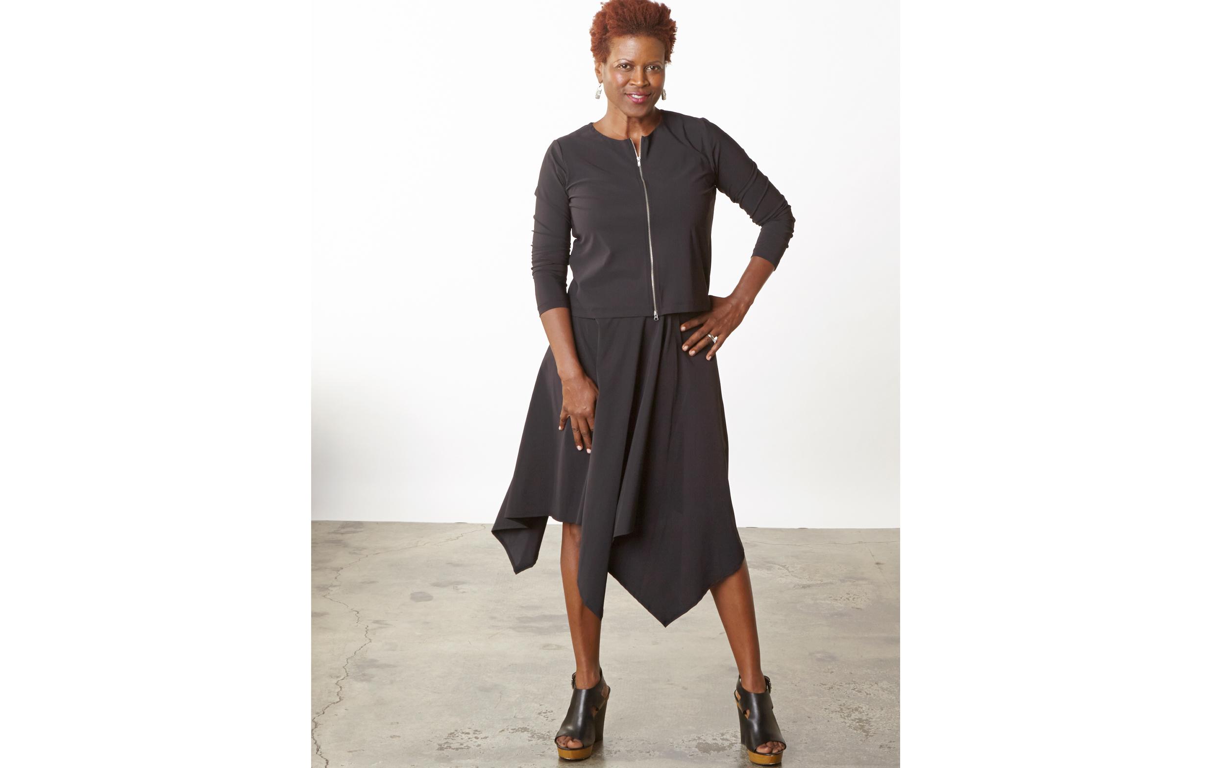 Betz Cardigan, Bianca Skirt in Black Italian Microfiber Jersey