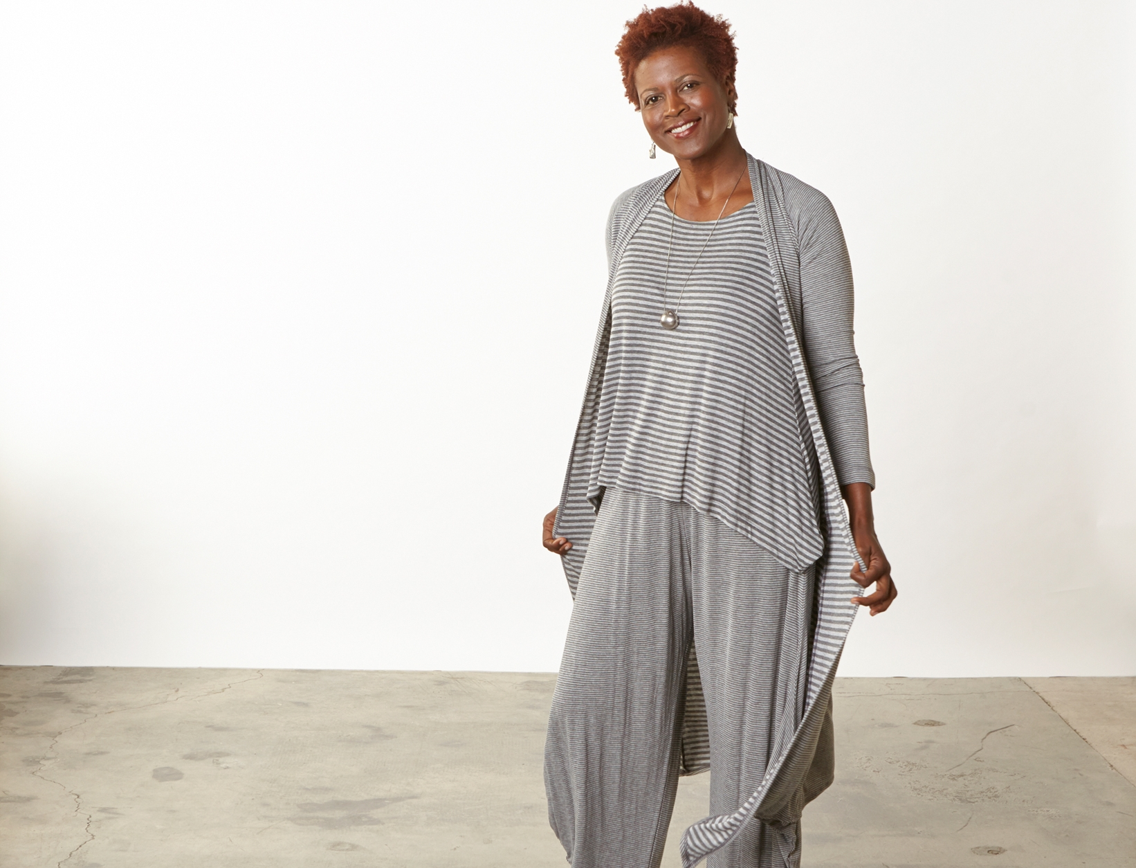 Tristan Cardigan, Renee Tank, Hamish Pant in Grey Double Stripe Jersey