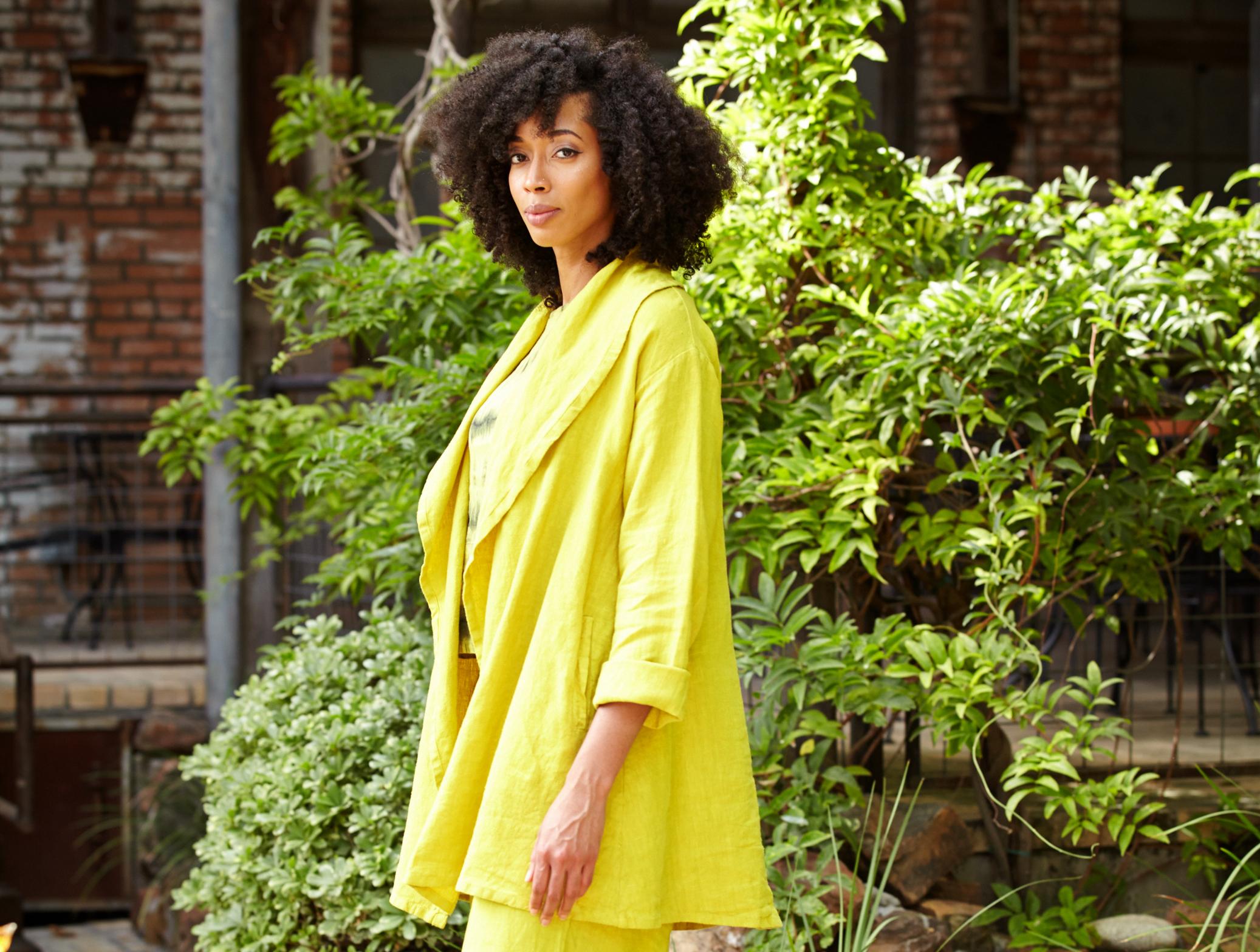 Marcella Jacket in Oriole Heavy Linen, Long Full Pant in Oriole Light Linen, Basic Tank in Oriole Tie Dye Linen