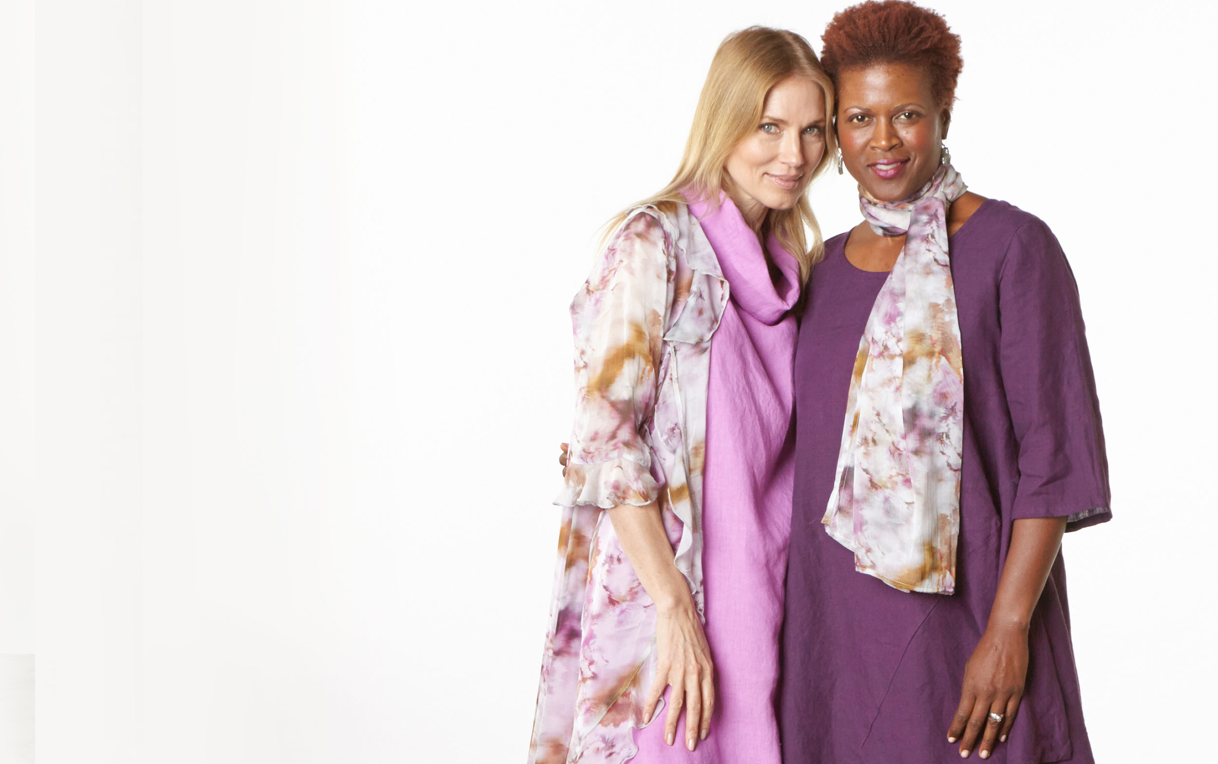 Camille Cardigan, Scarf in Versailles Sheer Silk, Henrietta Dress in lxia, Naida Tunic in Myth Light Linen