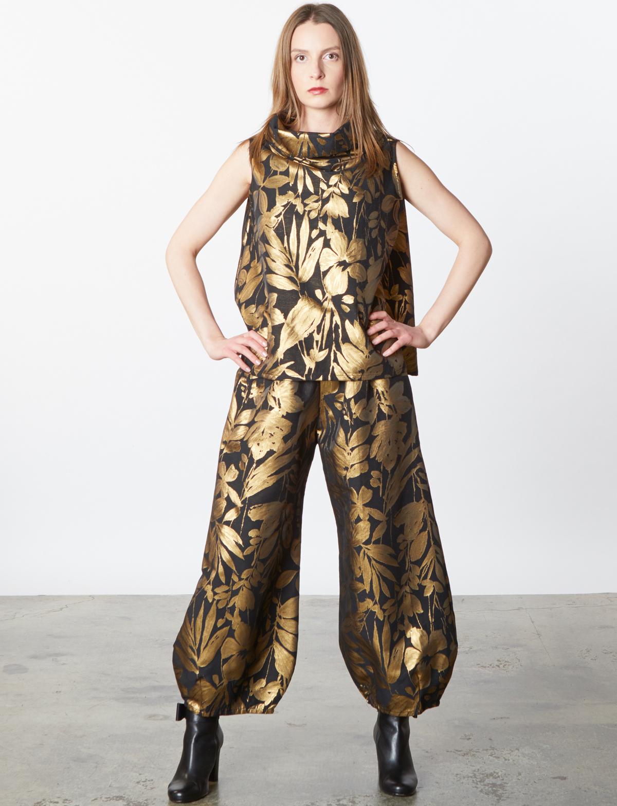 Etta Vest, Medina Pant in Gold Italian Folie d'Oro
