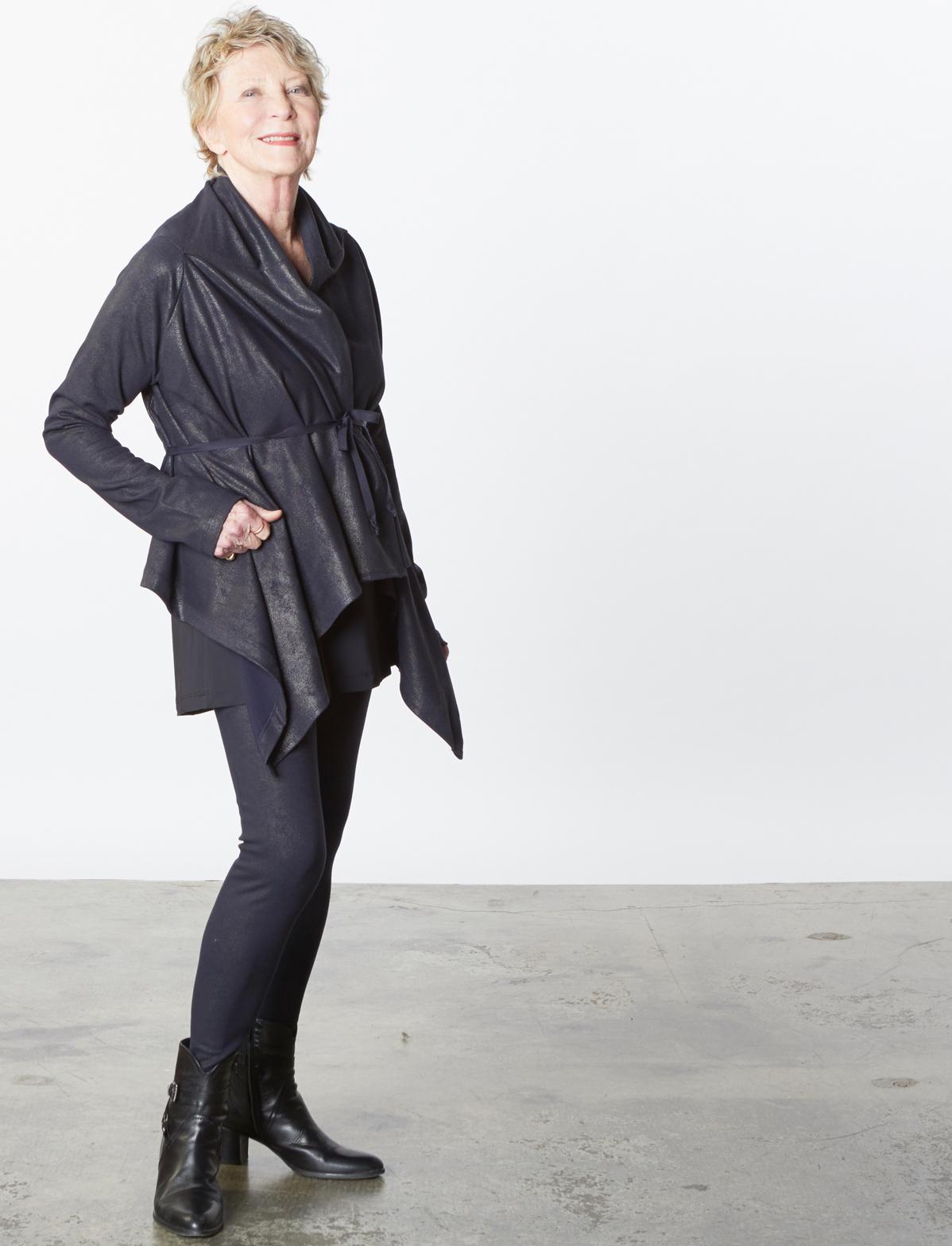 Eva Cardigan, Low Rise Legging in Midnight Milano Laminato