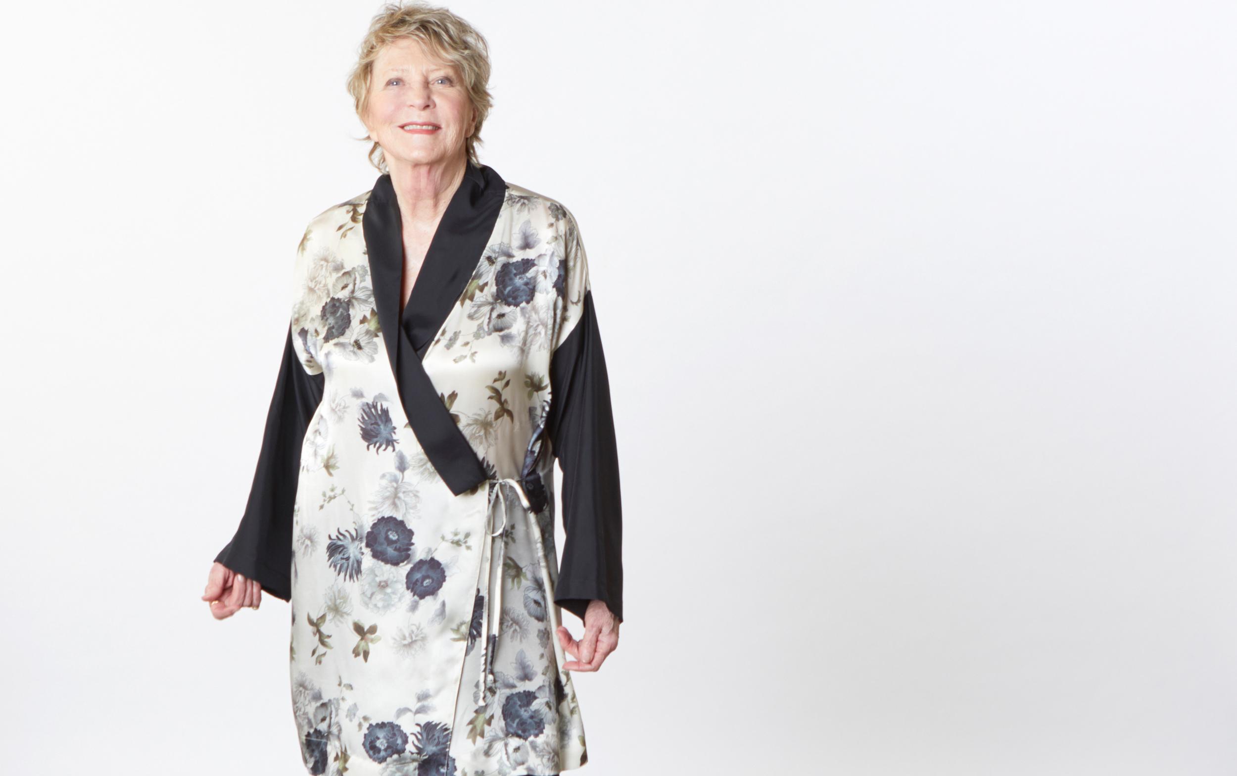 Franca Jacket in Black/White Italian Silk Print