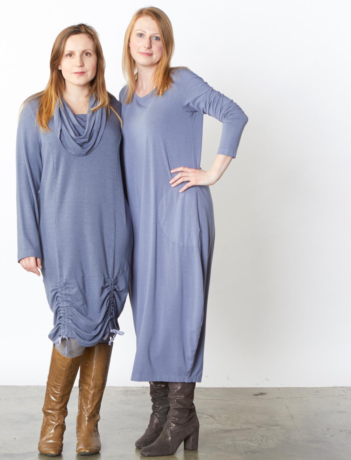 Annika Dress in Fontana Grey French Terry, Philippa Dress in Fontana Organic Bamboo Cotton