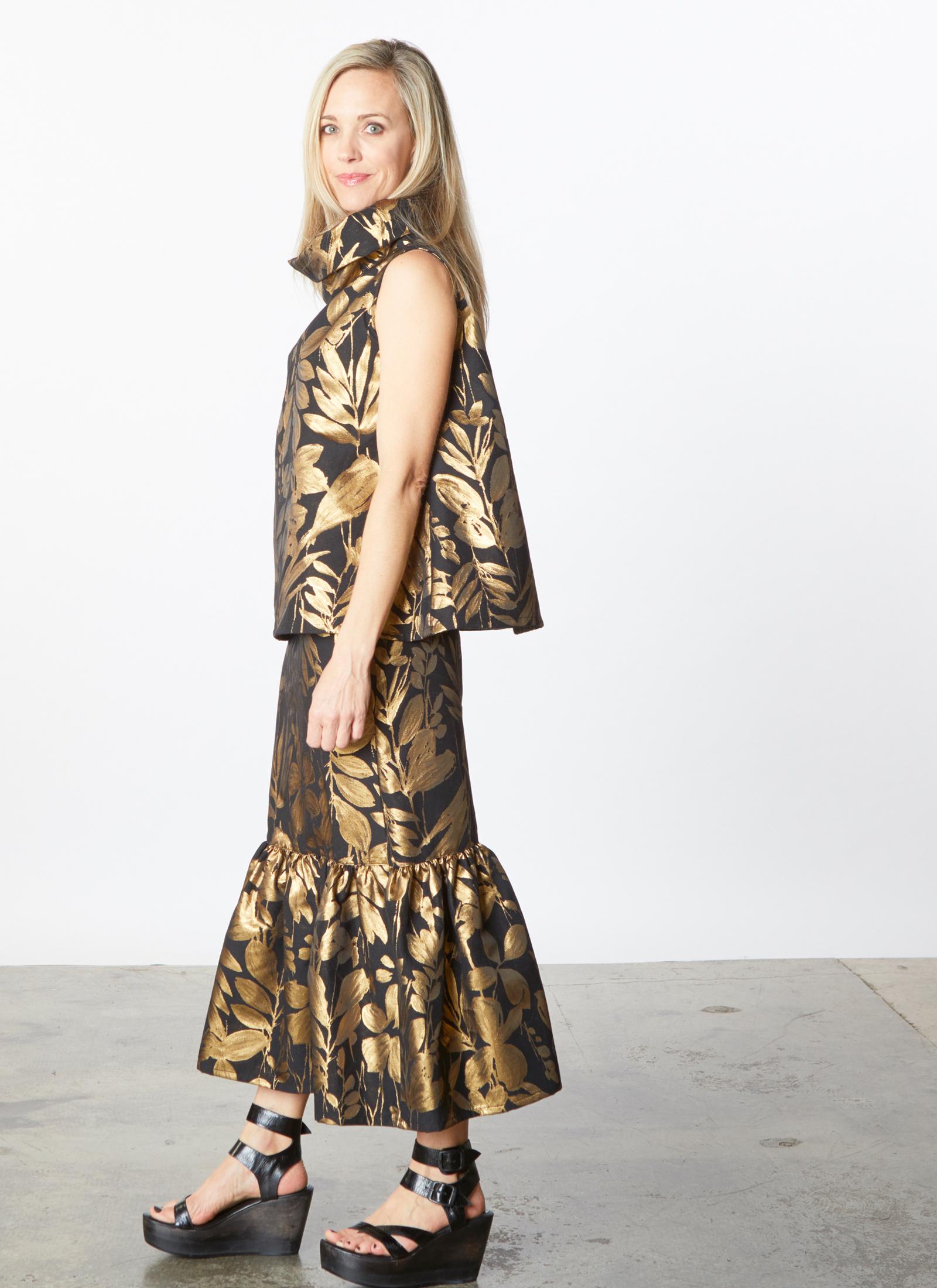 Etta Vest, Ruffle Skirt in Gold Italian Folie d'Oro