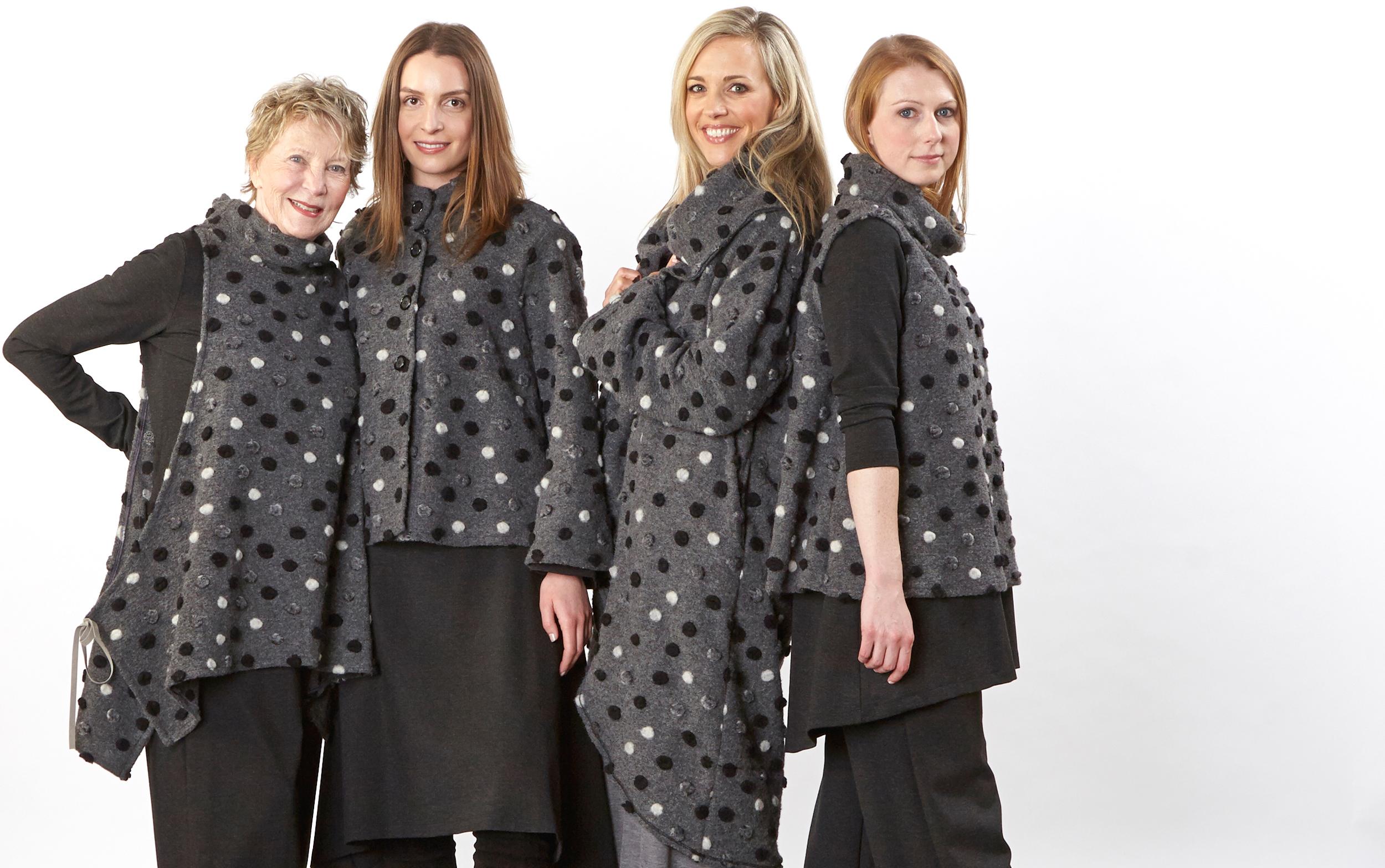 Dorian Vest, Sabira Jacket, Wrap Coat, Etta Vest in Grey Italian Wool Dots, Liam Tunic, Palazzo Pant, Sean Skirt, Oliver Pant in Grey Italian Melange