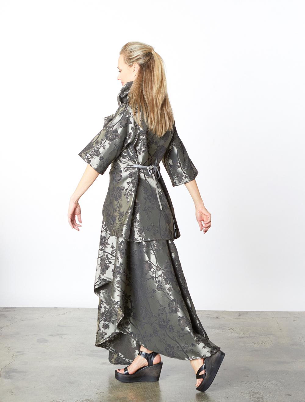 Bowie Jacket, Grange Skirt in Silver Broccatello Fiori