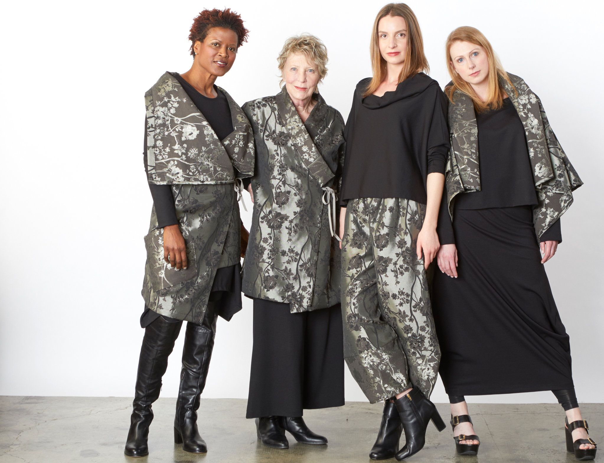 Julie Vest, Franca Jacket, Oliver Pant, Bowie Jacket in Silver Broccatello Fiori, Chase Tunic, Ella Pant, Astrid Shirt,Button Back Shirt, Hamish Skirt in Black Modal Ponti