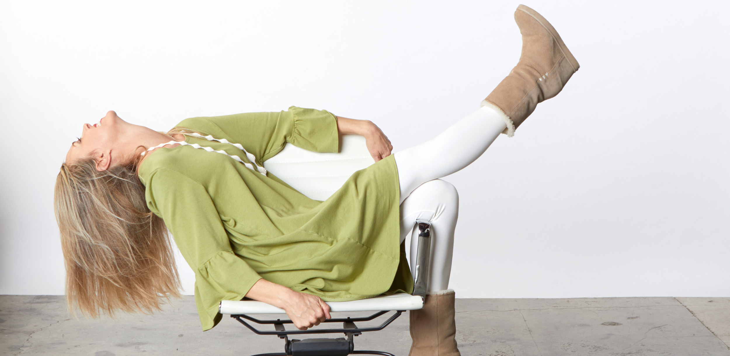 Phryne Tunic in Lime Bamboo French Terry, Legging in Cream Organic Bamboo Cotton