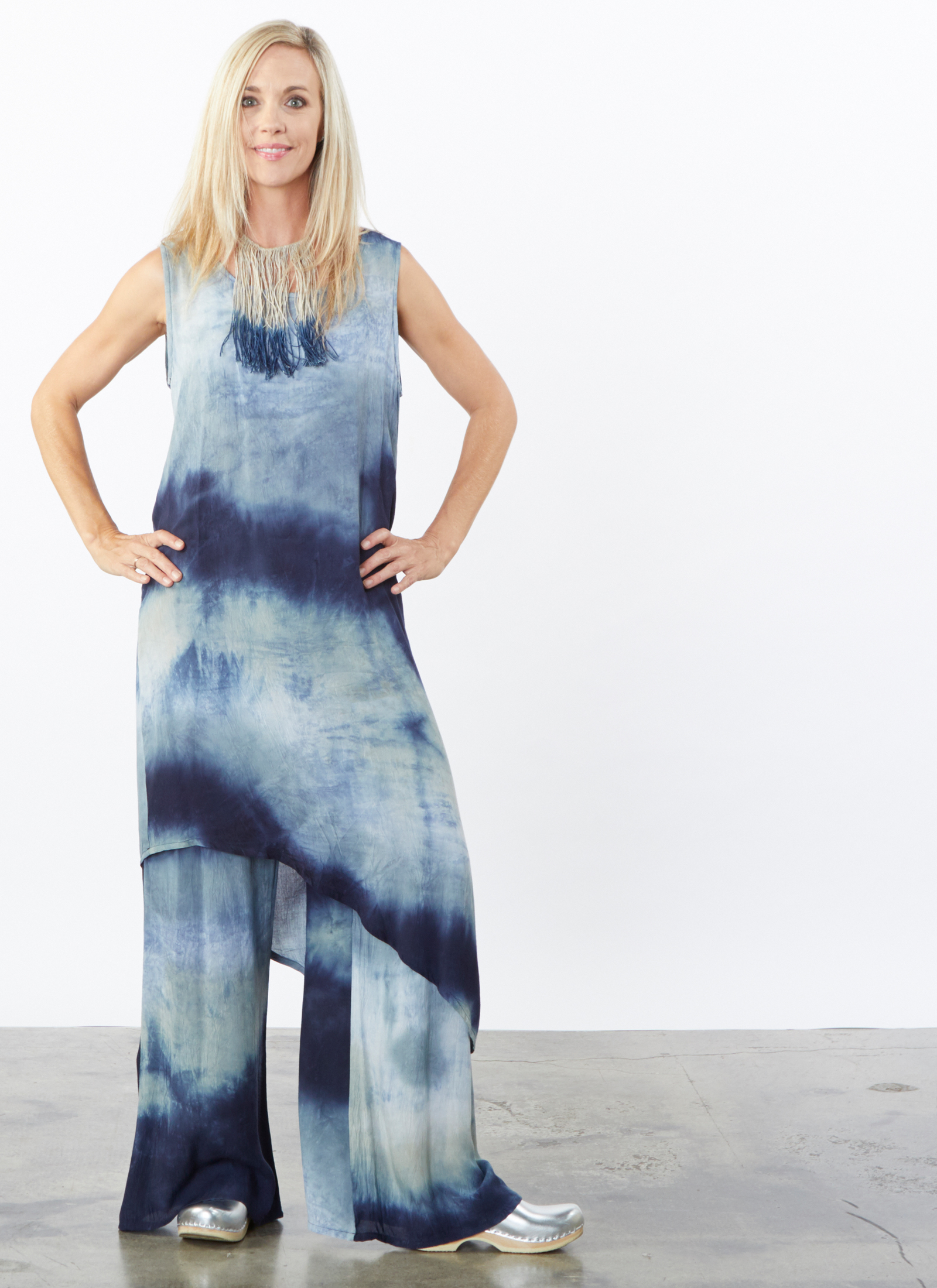 Euna Dress, Oscar Pant in Cascata Tie Dye