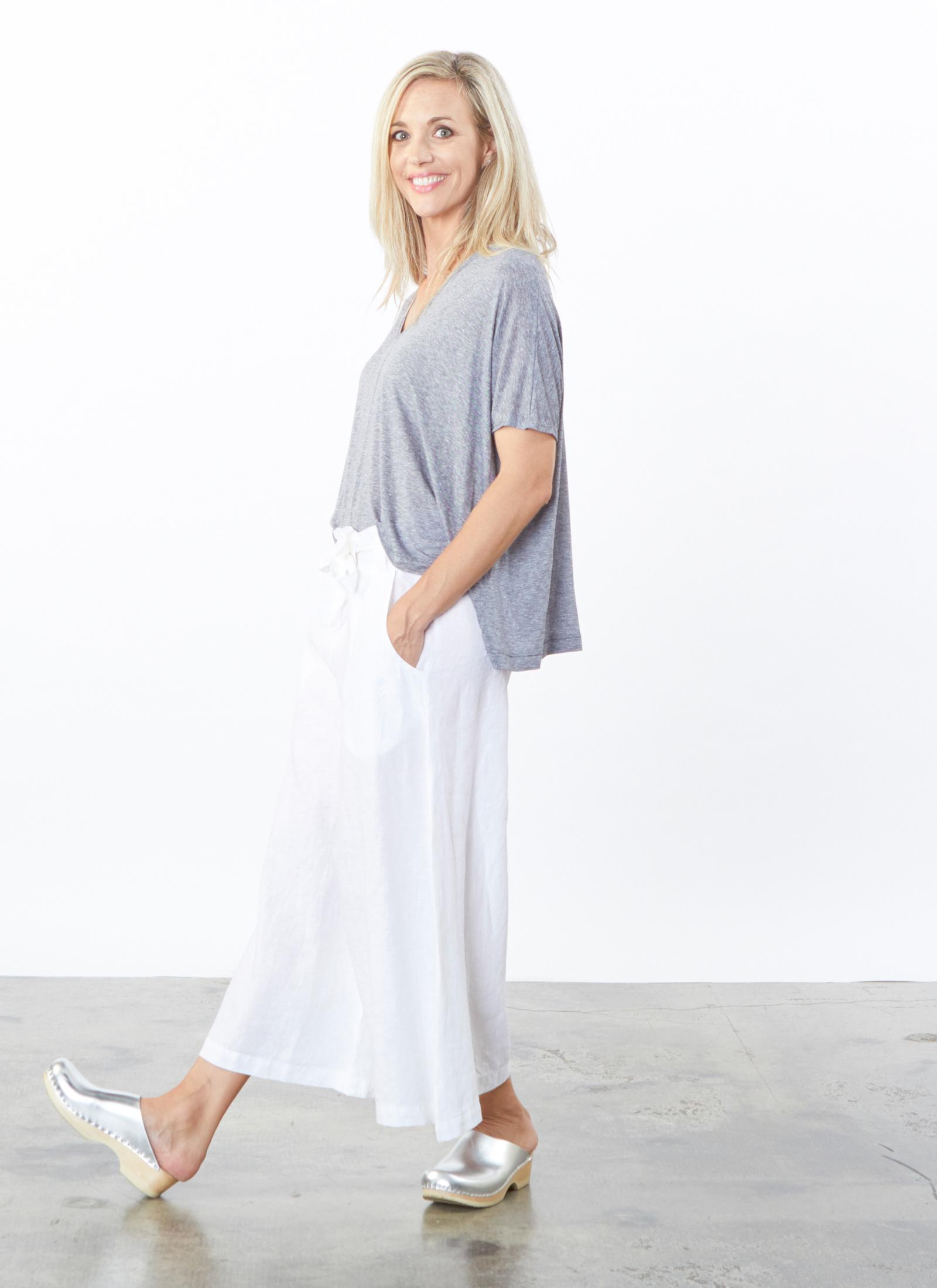 Becca Shirt in Mini Stripe, Crop Tie Waist Pant in White Light Linen