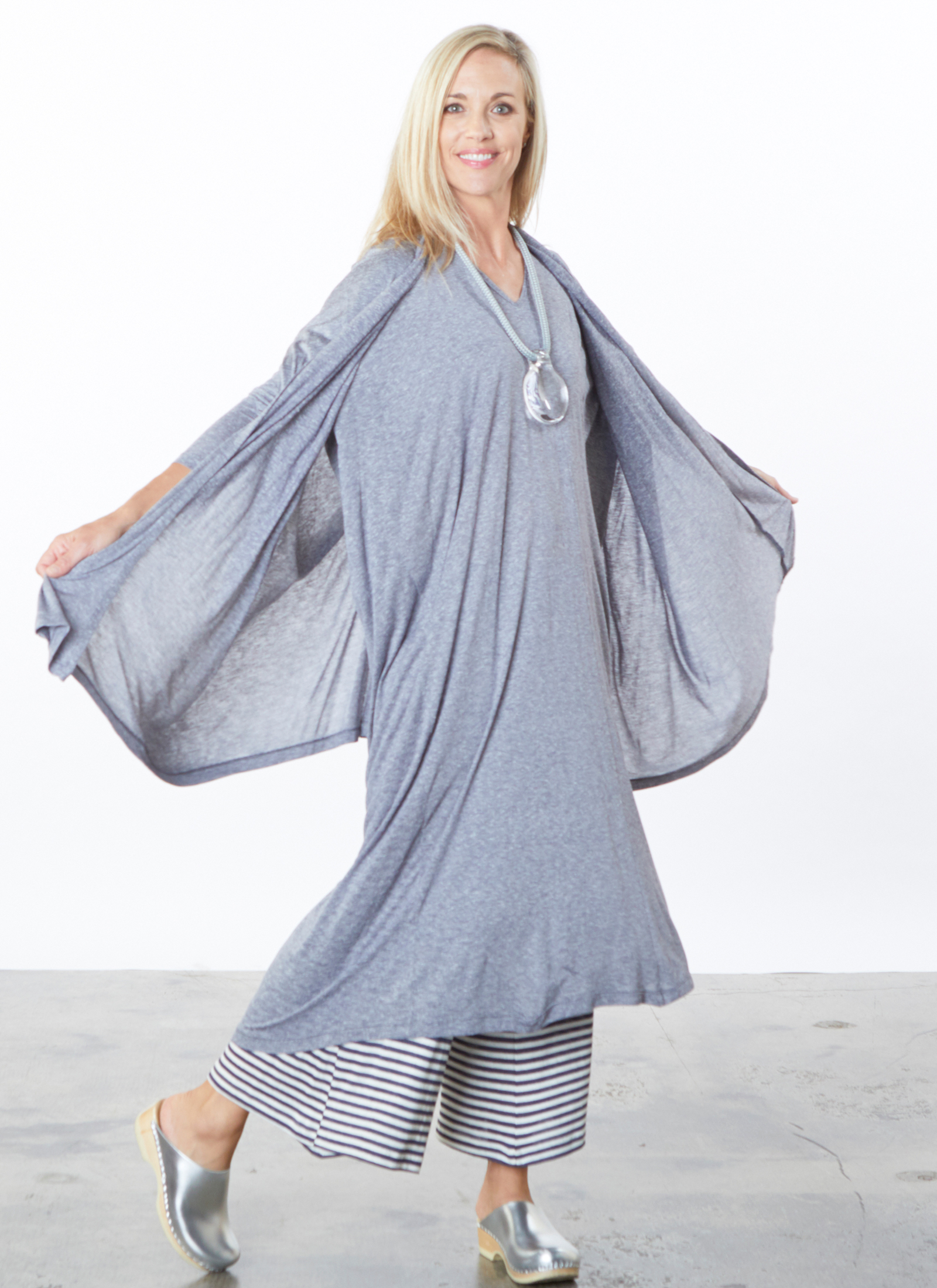 Stoker Cardigan, Renata Dress in Mini Stripe, Ella Pant in Silk Viscose Stripe