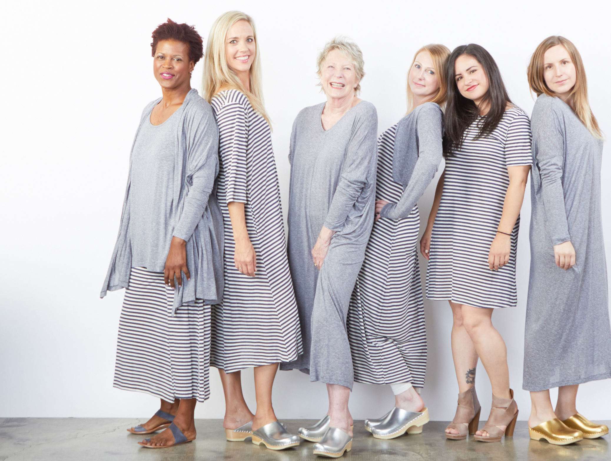 Stoker Cardigan, Tre Cardigan, Lois Tank, Renata Dress in Mini Stripe, Homer Dress, Pippa Dress, Bea Tunic in Silk Viscose Stripe