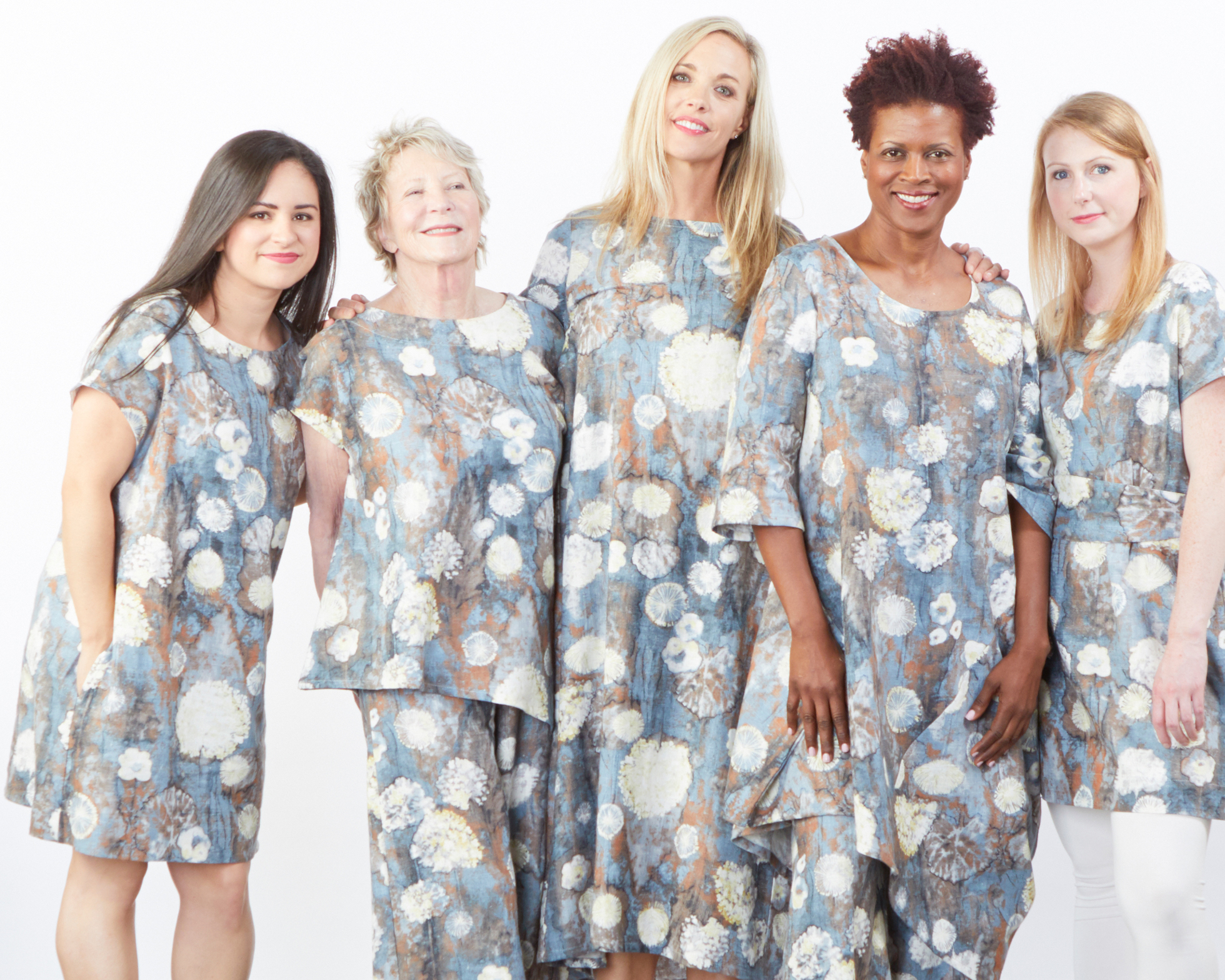 Ansel Tunic, Ivy Shirt, Long Full Pant, Kahlo Dress, Naida Tunic in Burdock Cumbria Linen, Legging in Cream Bamboo Cotton