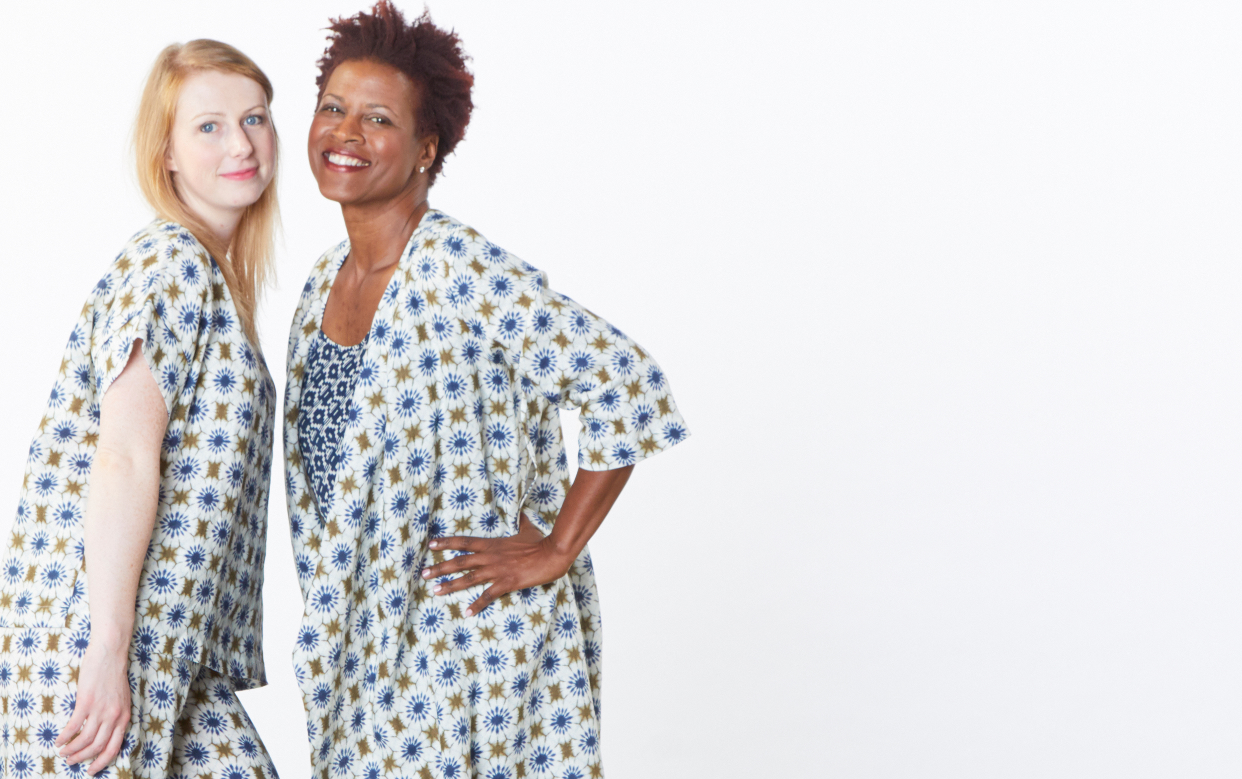 Orla Shirt, Bell Pant, Zena Tunic in Moss/Ivory, Lucy Tank in Blue/Ivory Italian Print Linen