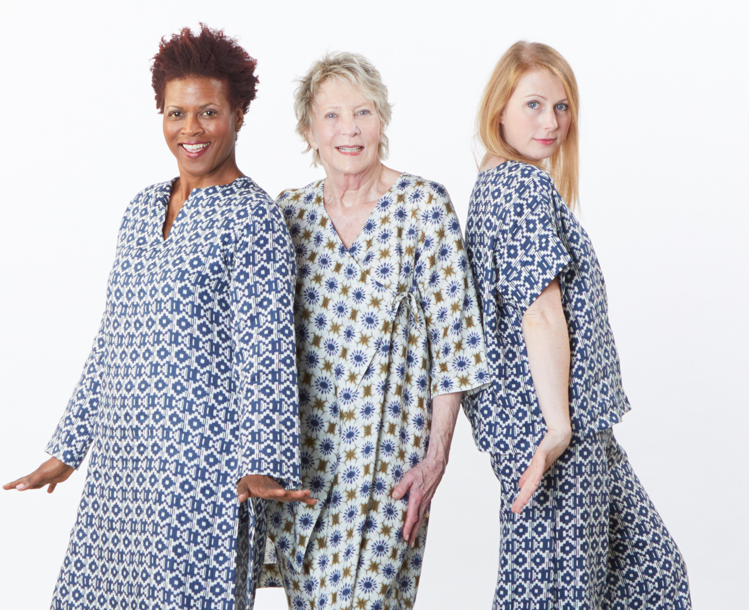 Risa Tunic, Orla Shirt, Bell Pant in Blue/Ivory, Zena Tunic, Bell Pant in Moss/Ivory Italian Print Linen