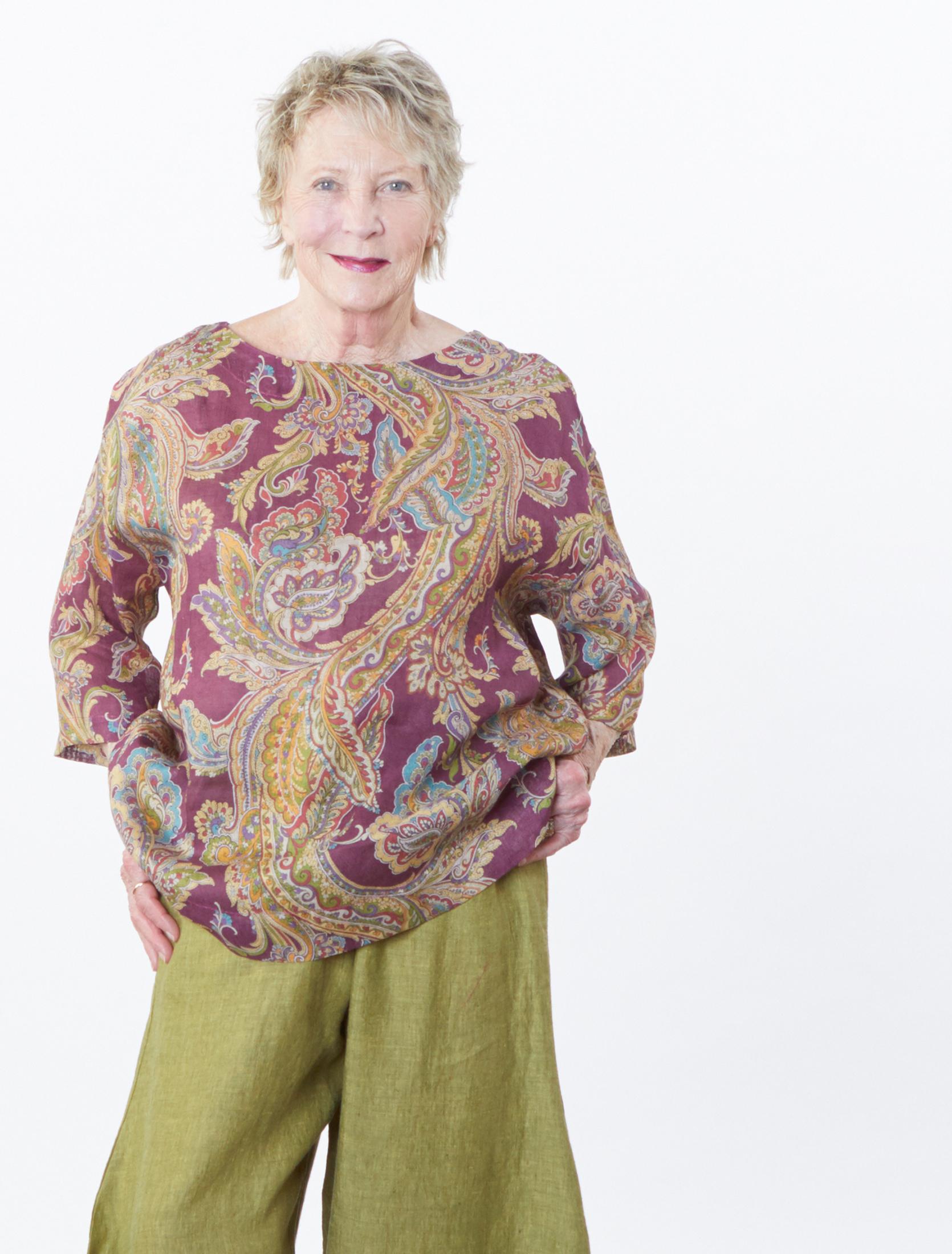 Resort Shirt in Viola Paisley Italian Linen, Seamus Pant in Ravello Cross Dyed Linen
