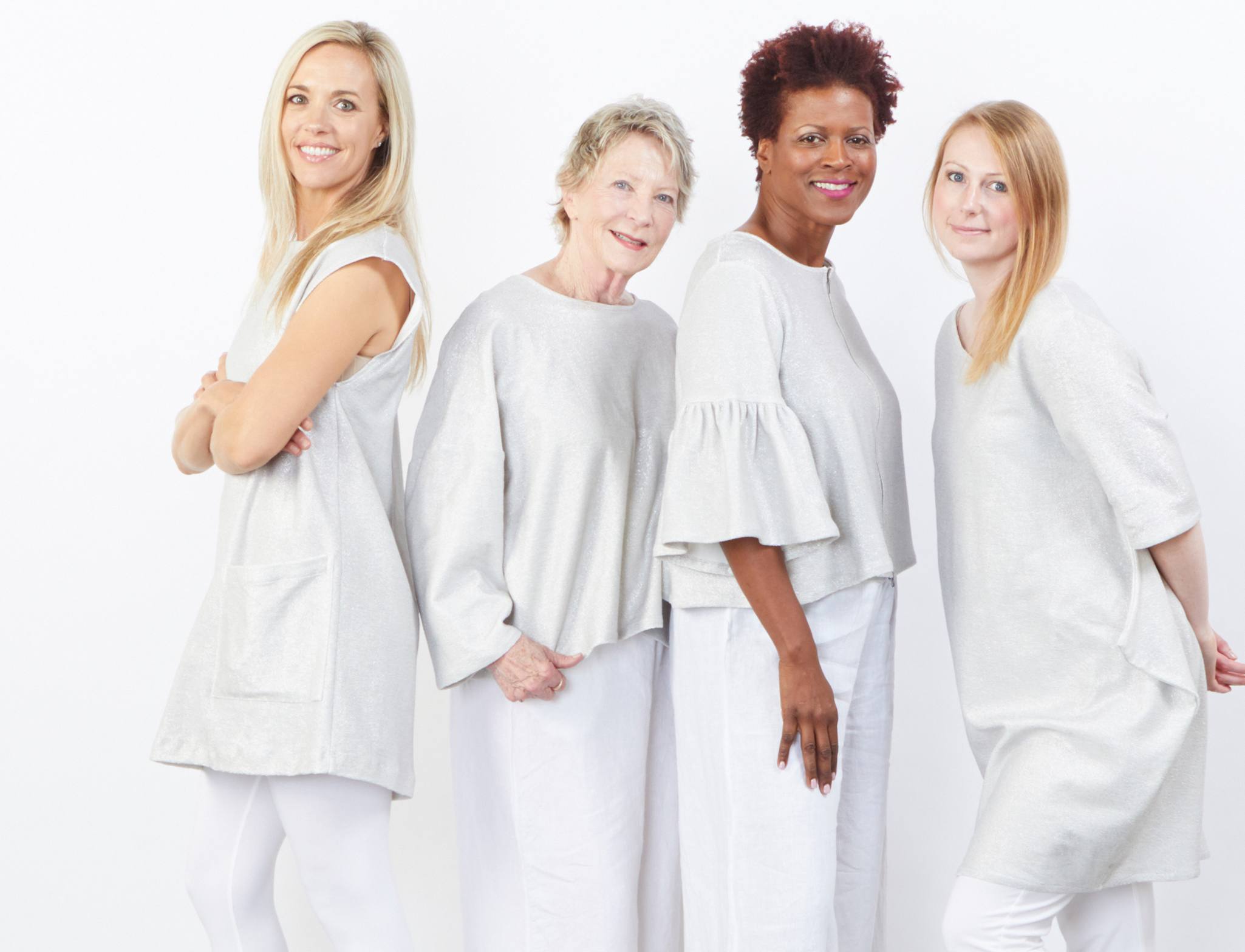 Clyde Tunic, Play Shirt, Frida Zip Jacket, Conrad Tunic in Silver Ready for Newport Beach, Legging, Flare Capri Pant in White Bamboo Cotton, Long Full Pant, Flood Pant in White Light Linen