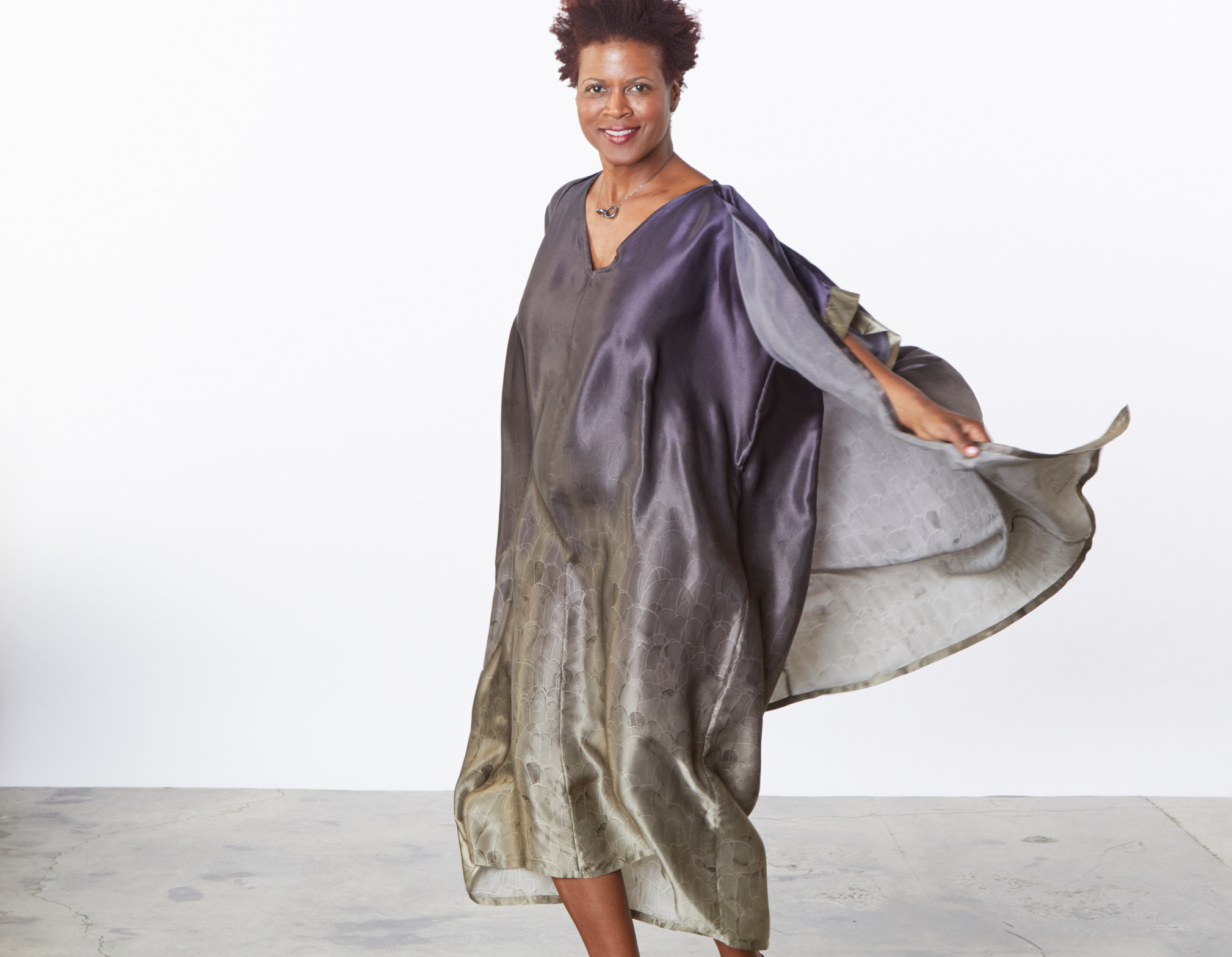 Ezra Cardigan, Long Poncho in Plume Ombre Silk