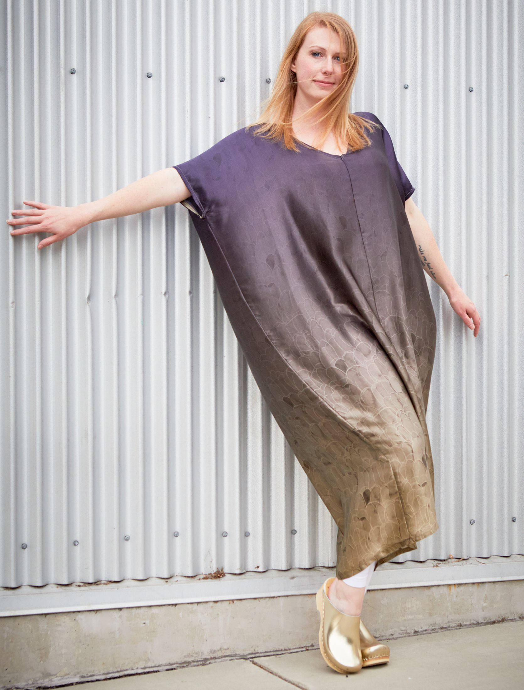 Long Poncho in Plume Ombre Silk