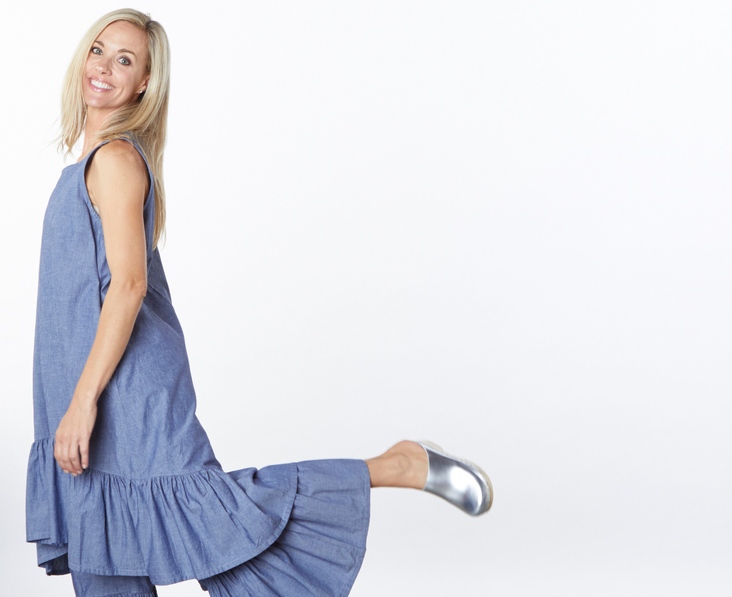 Angelita Dress, Ruffle Pant in Oia Cotton Chambray