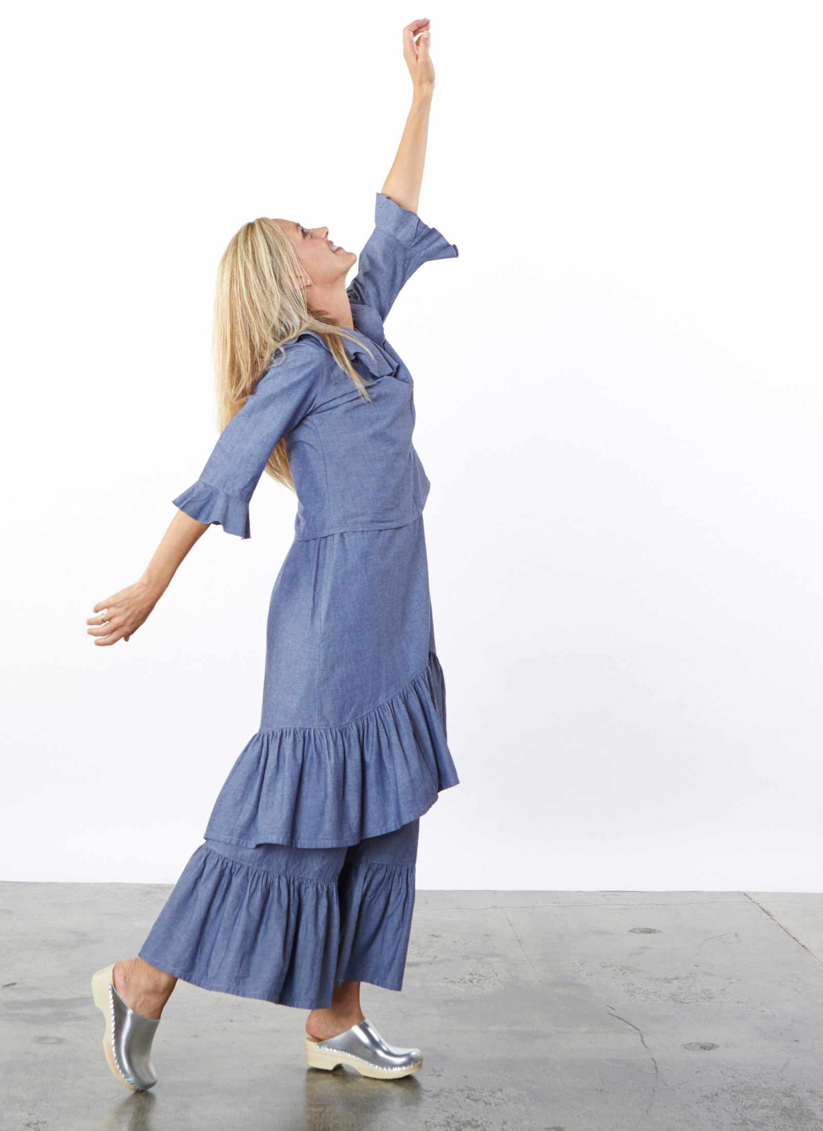 Georgia Shirt, Angelita Dress, Ruffle Pant in Oia Cotton Chambray