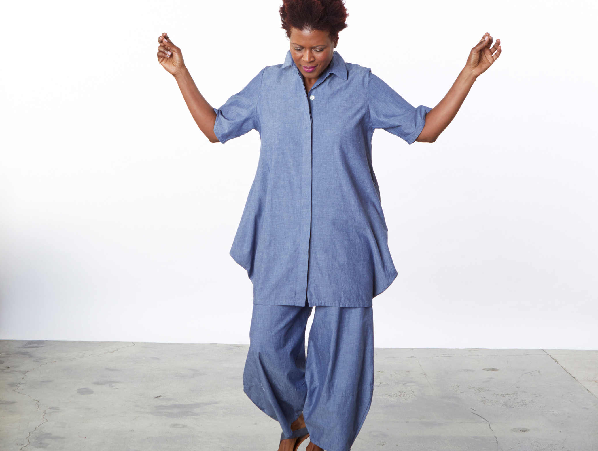 Corrado Tunic, Oliver Pant in Oia Cotton Chambray