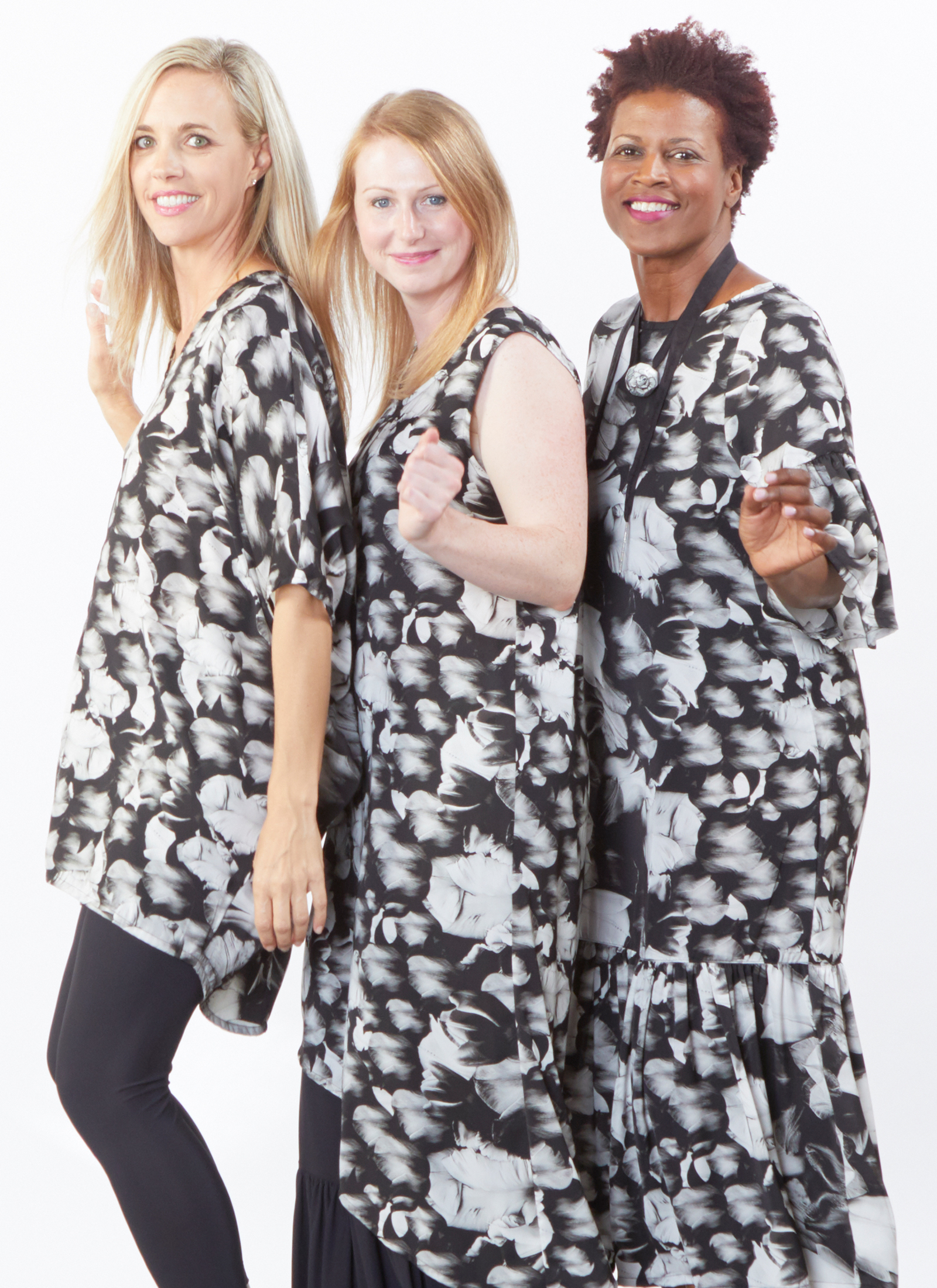 Raquel Tunic, Euna Dress, Seraphina Dress in Black Tulip Print, Legging, Ruffle Pant in Black Microfiber Jersey