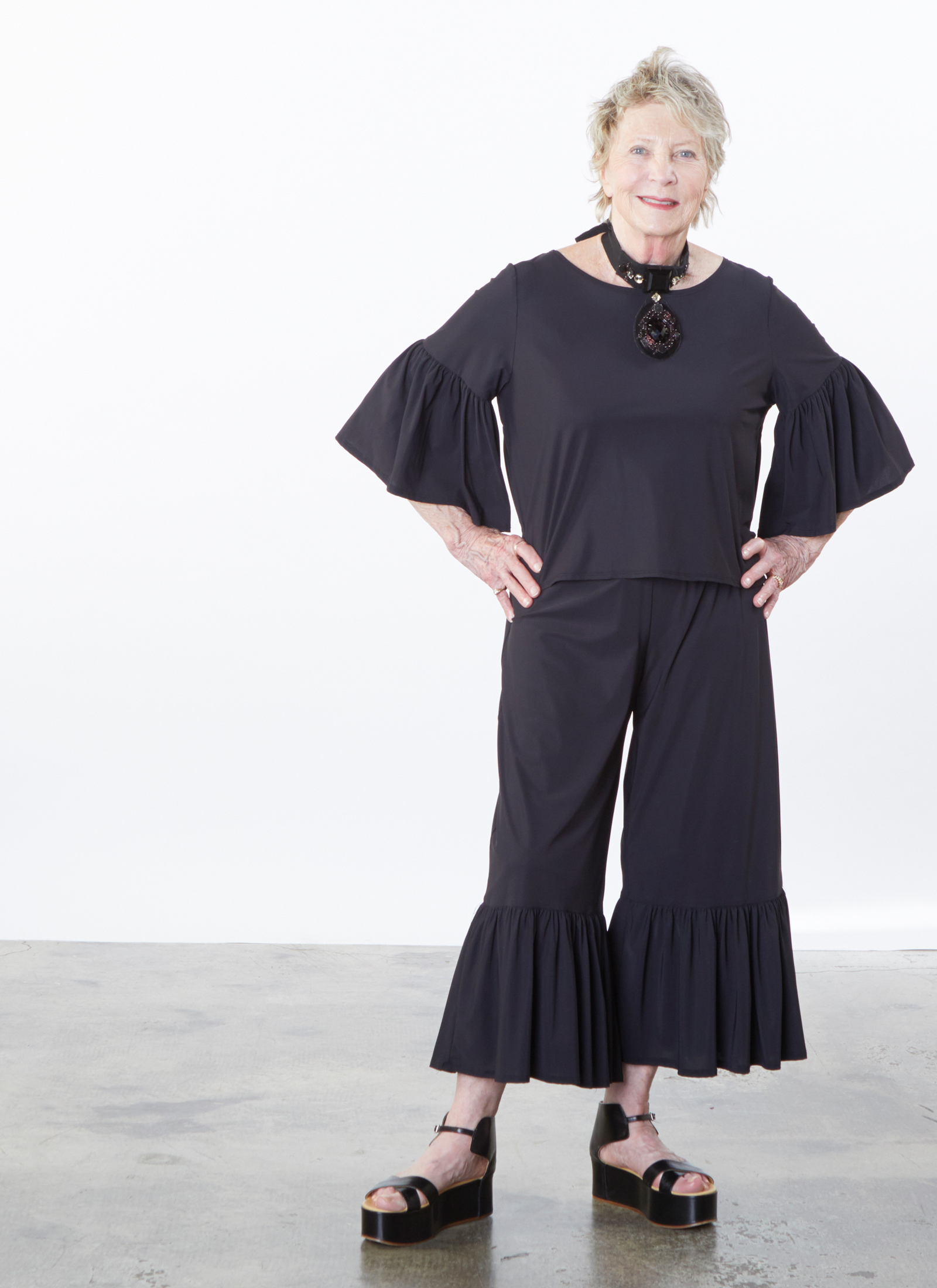 Frida Shirt, Ruffle Pant in Black Microfiber Jersey