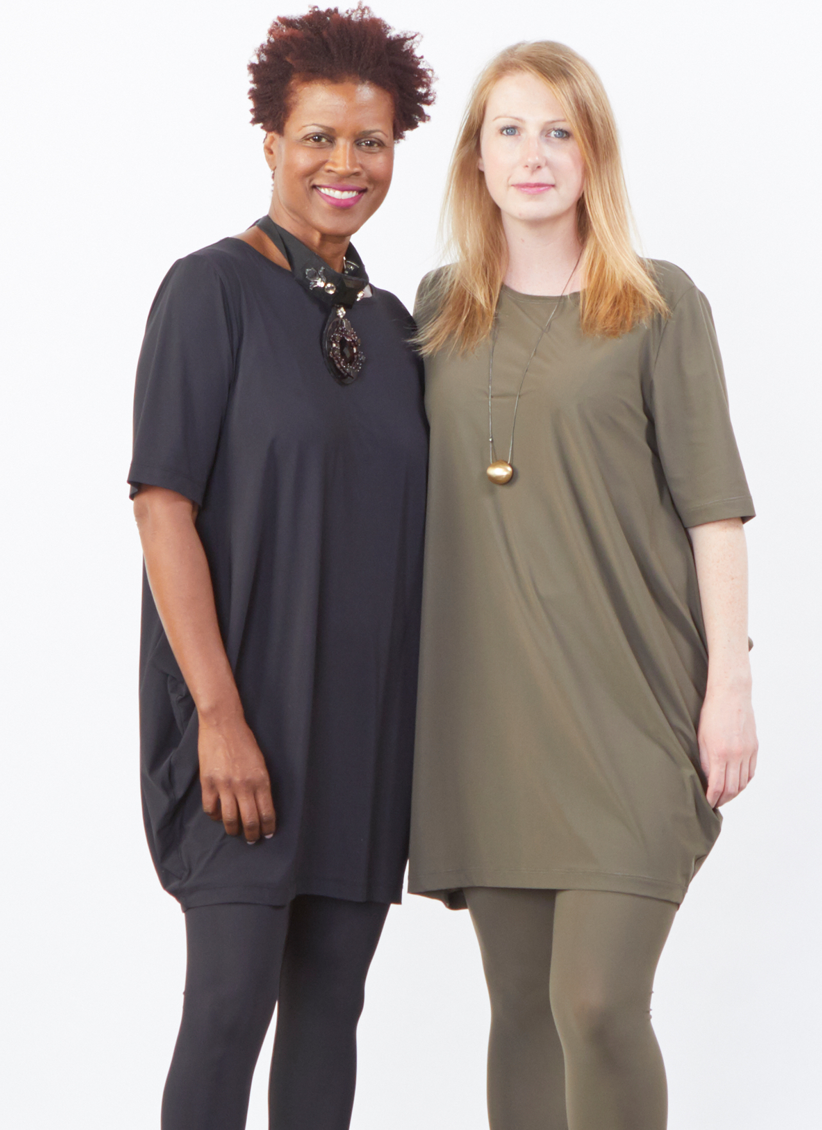 Conrad Tunic, Legging in Black and Olive Microfiber Jersey