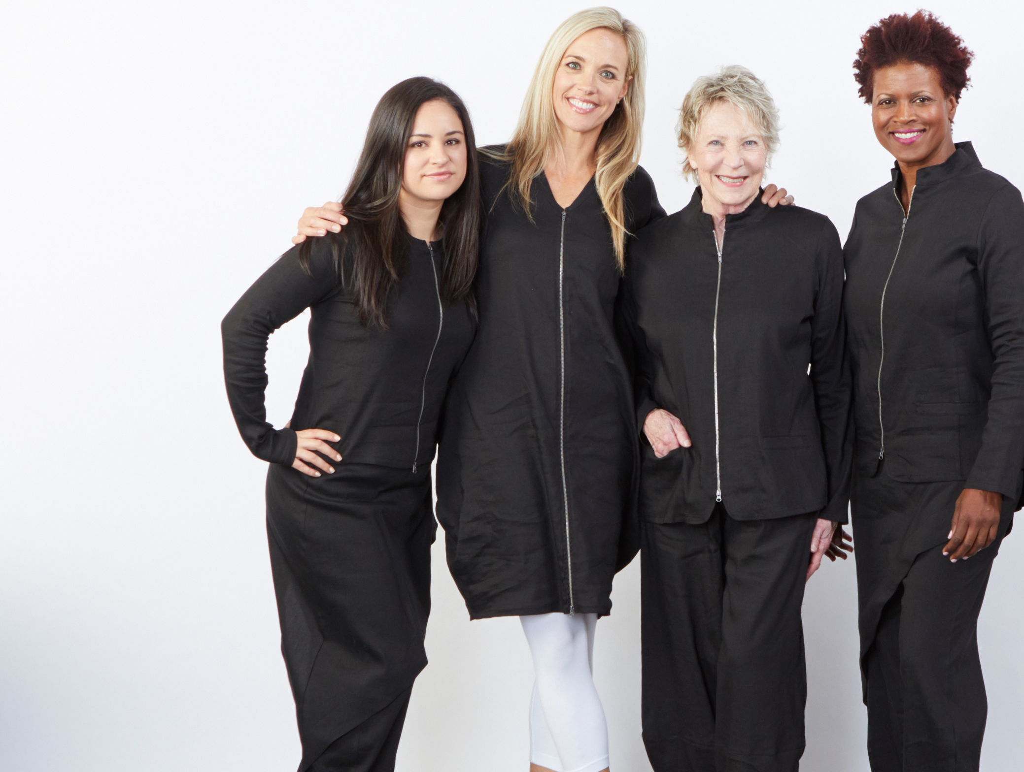 Betz Jacket, Mathias Jacket, Hayden Vest, Sofia Pant, Oliver Pant in Black Ready for Bologna, Legging in White Bamboo Cotton