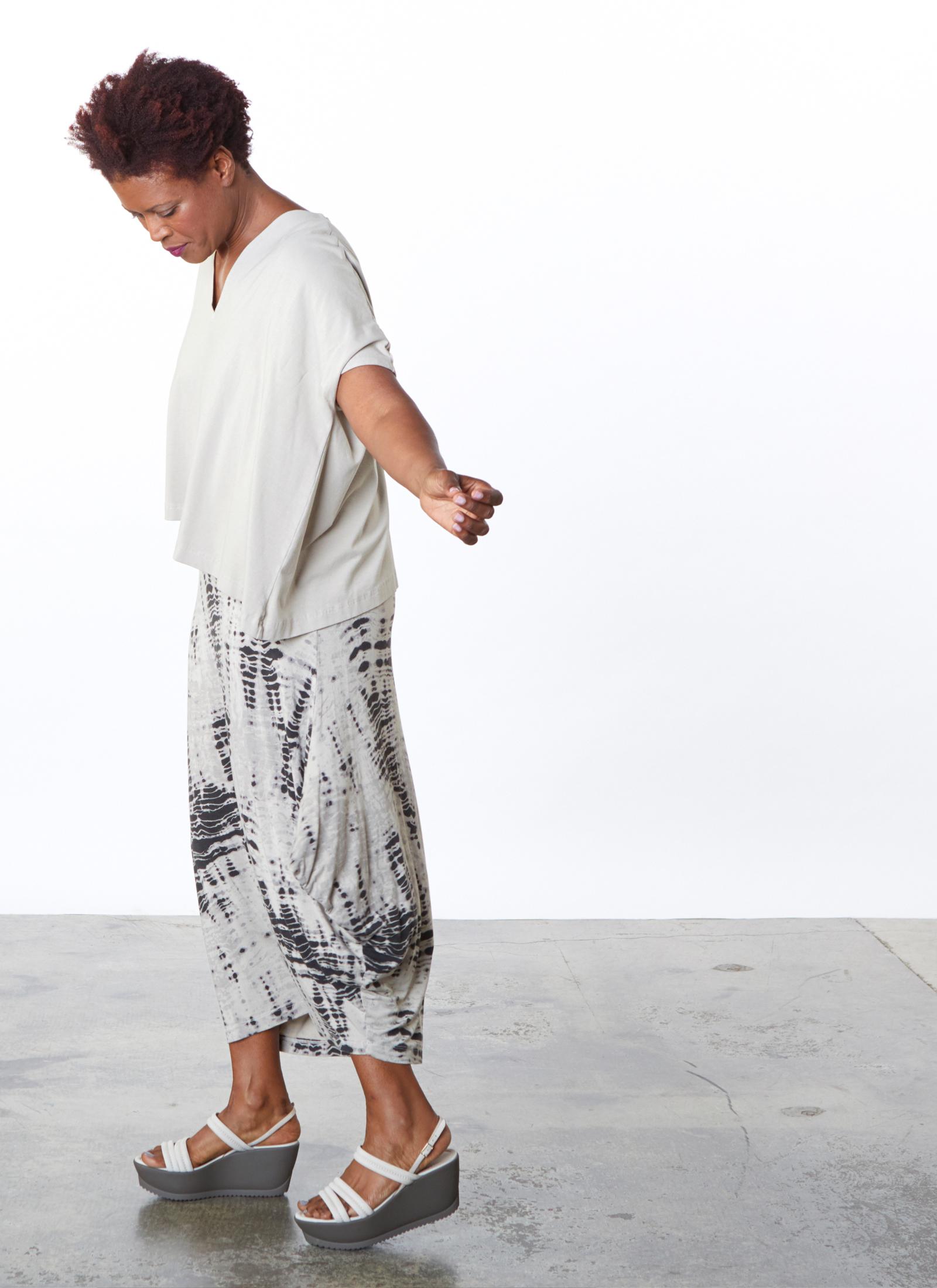 Becca Shirt in Lark Bamboo Cotton, Hamish Skirt in Lark Aguilos Viscose Jersey