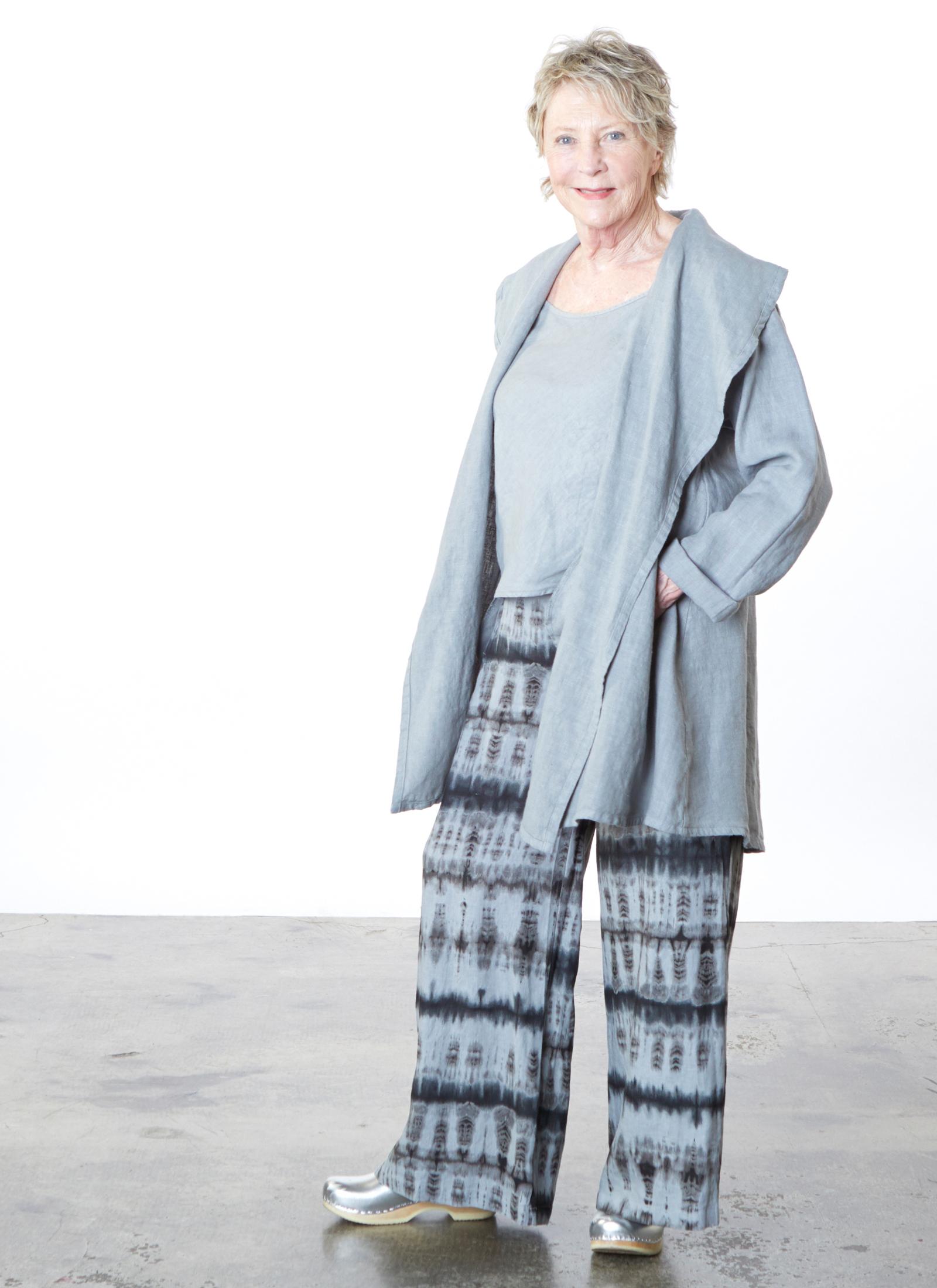 Marcella Jacket in Pietra Heavy Linen, Lucy Tank in Pietra Light Linen, Long Full Pant in Pietra Tie Dye Linen