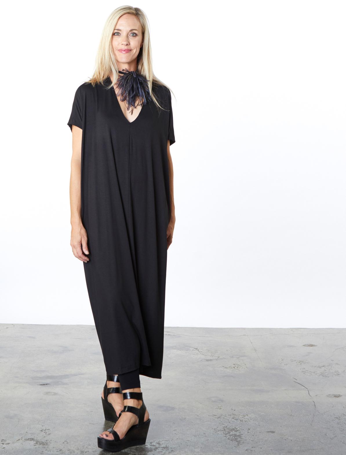 Rowan Dress in Black Italian Viscose Jersey