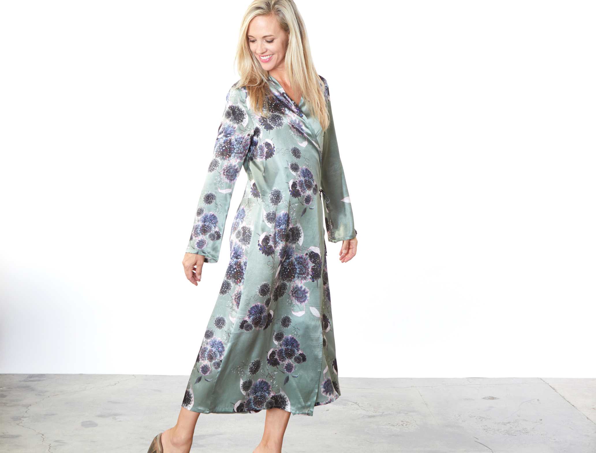 Havisham Dress in Thistle Silk Print