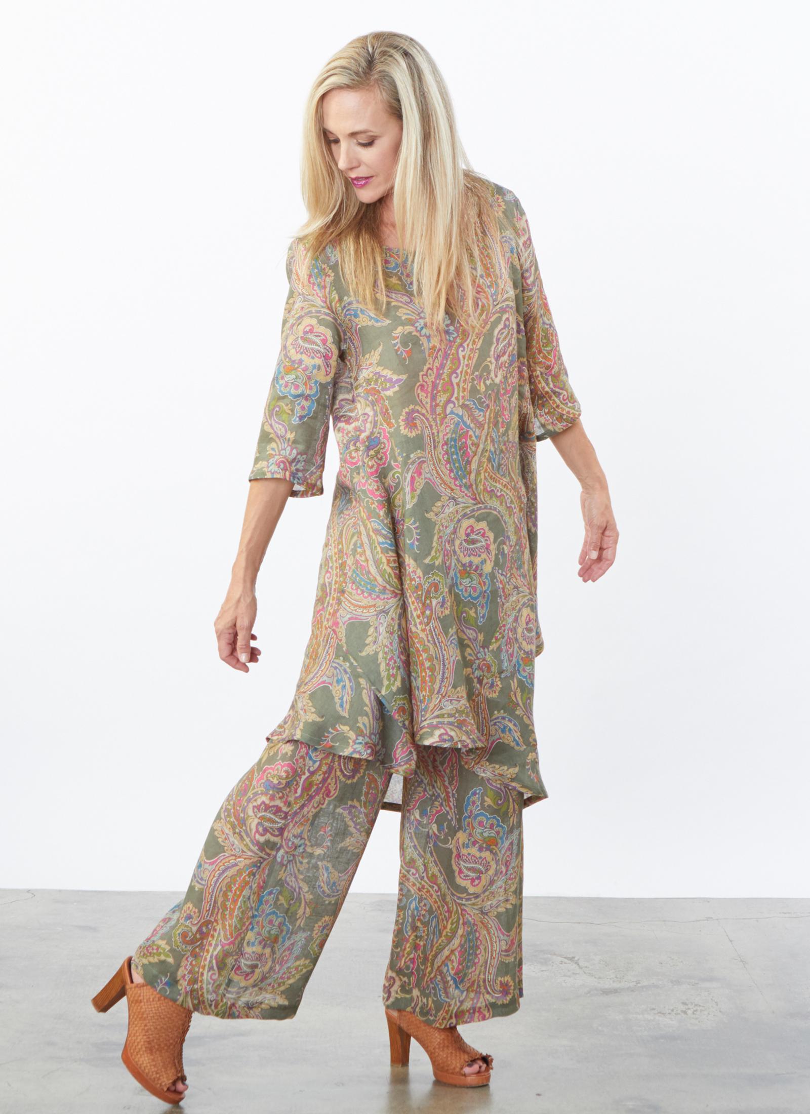 Lilia Tunic, Long Full Pant in Erba Paisley Italian Linen