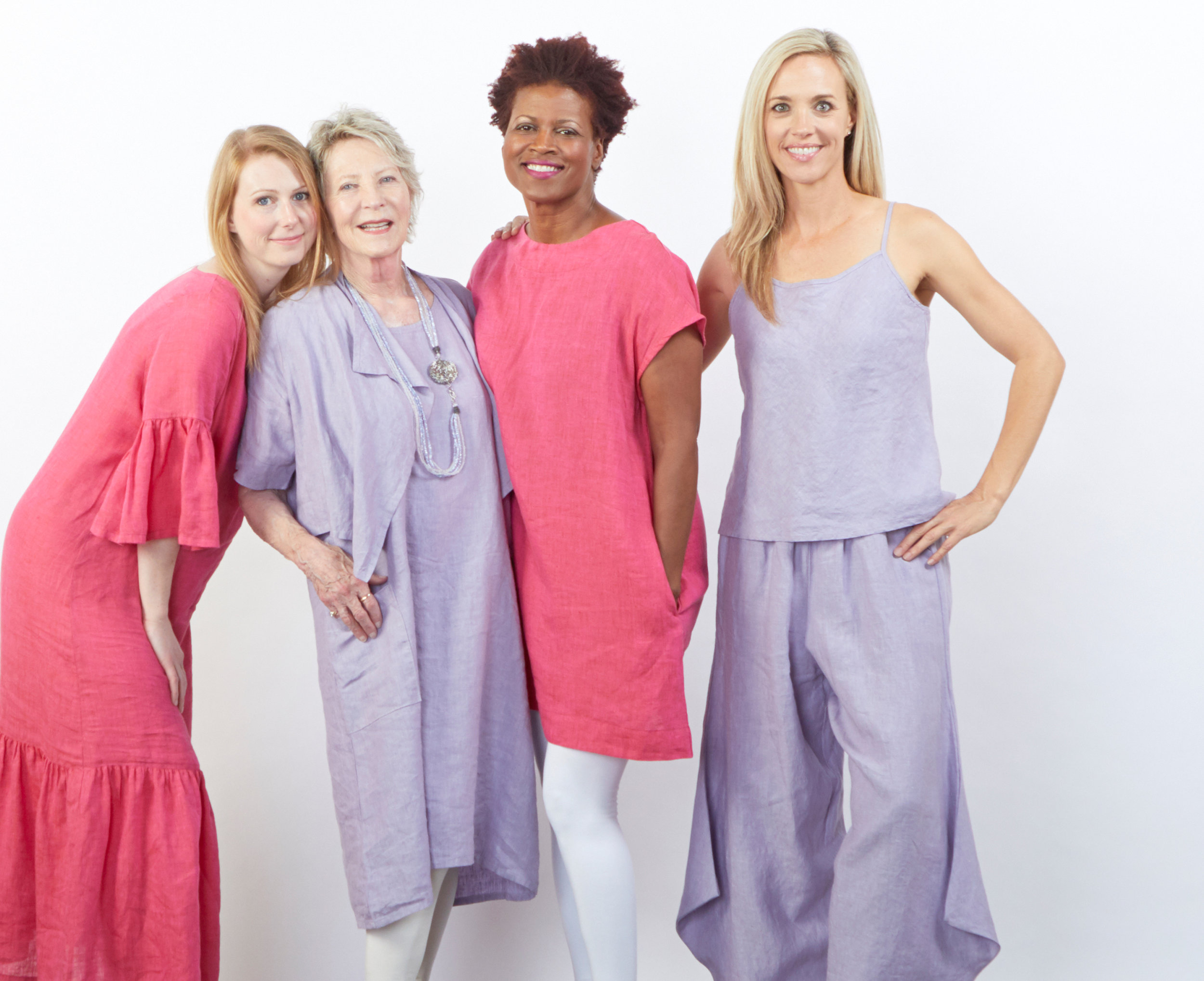 Seraphina Dress, Ansel Tunic in Anacapri, Malin Jacket, Luella Dress, Lucy Tank, Seamus Pant in Pienza Cross Dyed Linen