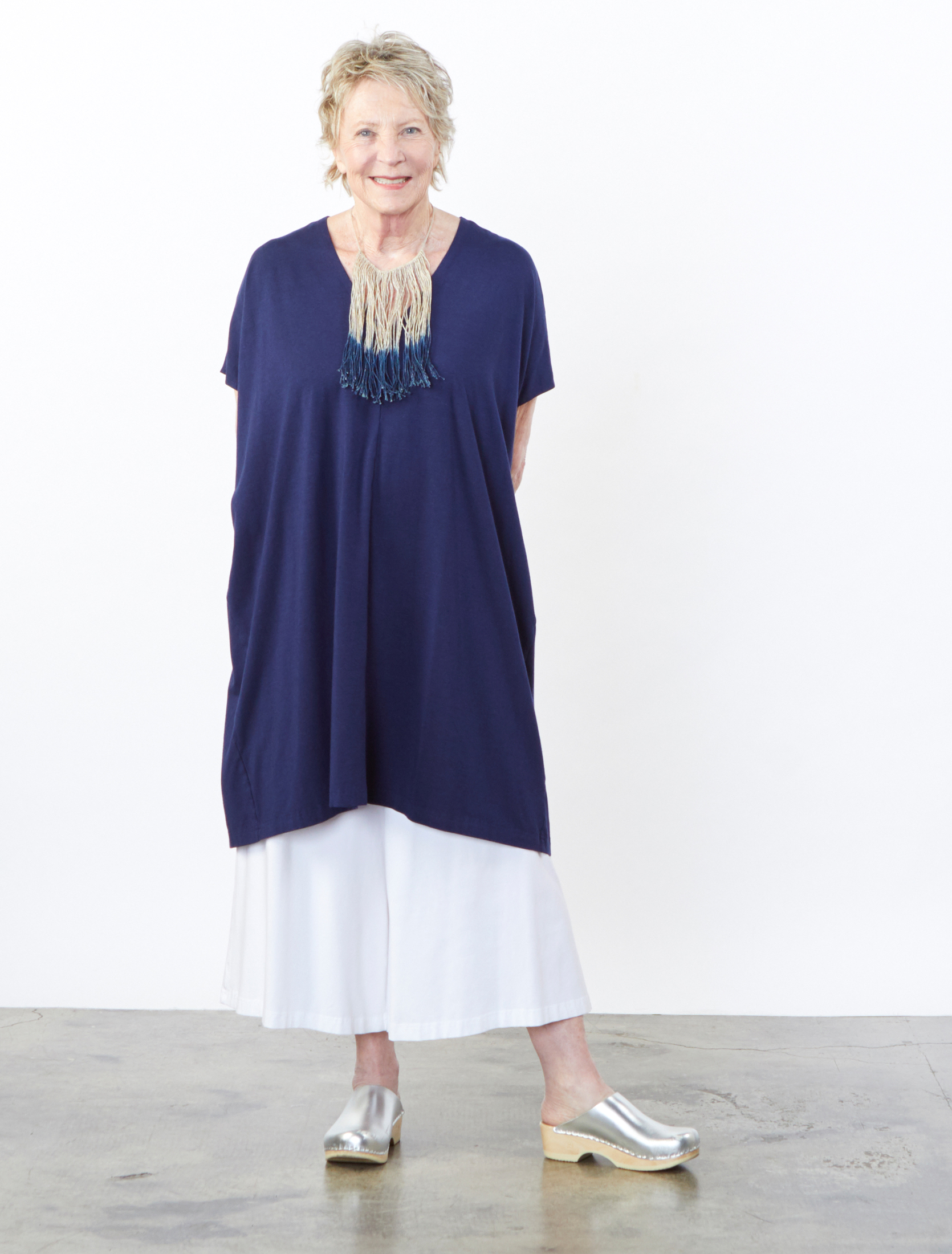 Eoin Tunic in Atlas, Ella Pant in White Bamboo Cotton