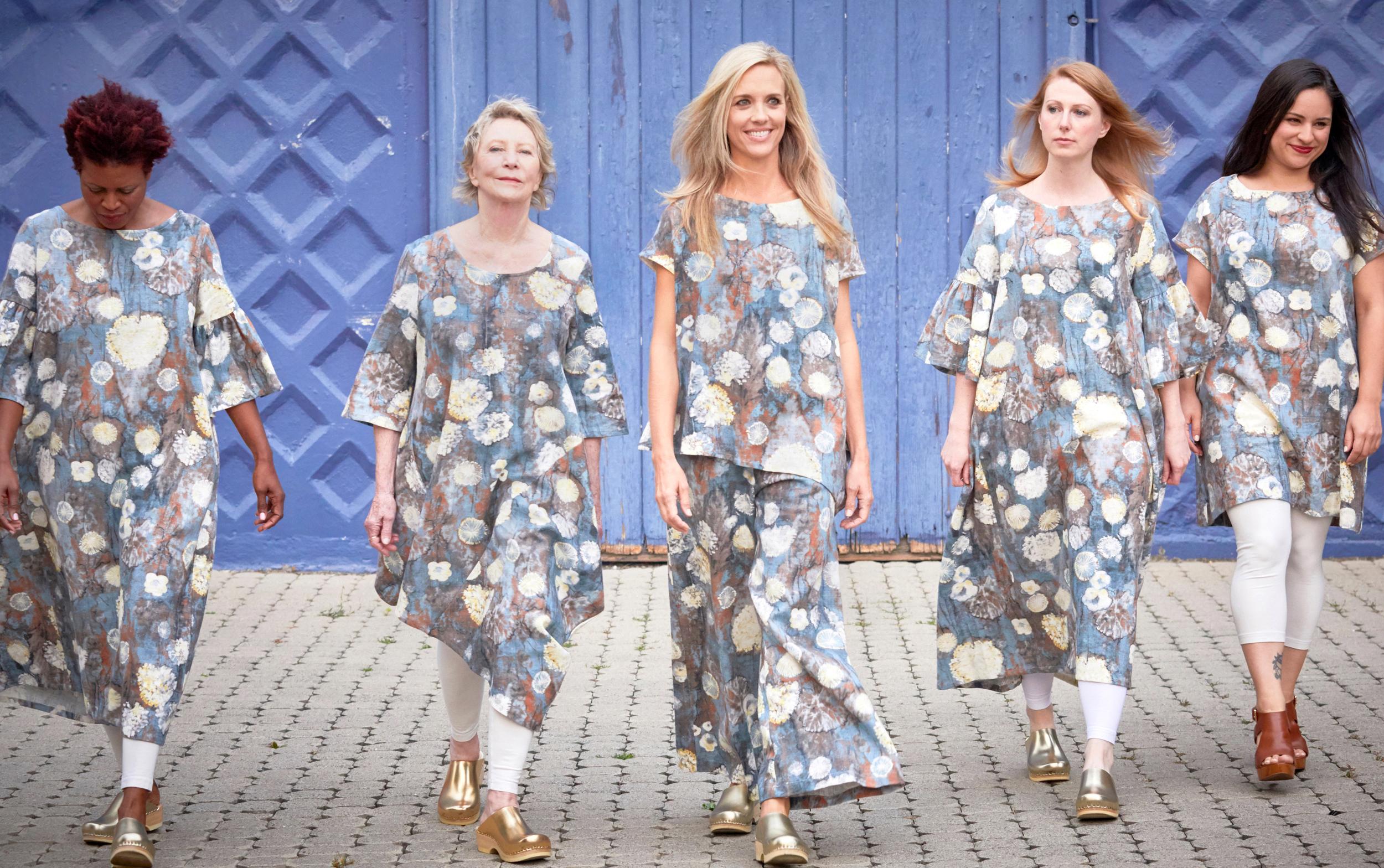 Kahlo Dress, Naida Tunic, Ivy Shirt, Long Full Pant, Ansel Tunic in Burdock Cumbria Linen, Legging in Cream Bamboo Cotton