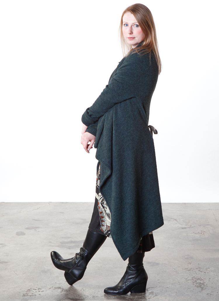 Eve Cardigan in Spruce Italian Boucle, Liliana Dress in Black/Ivory Ready for Lisbon Print Twill