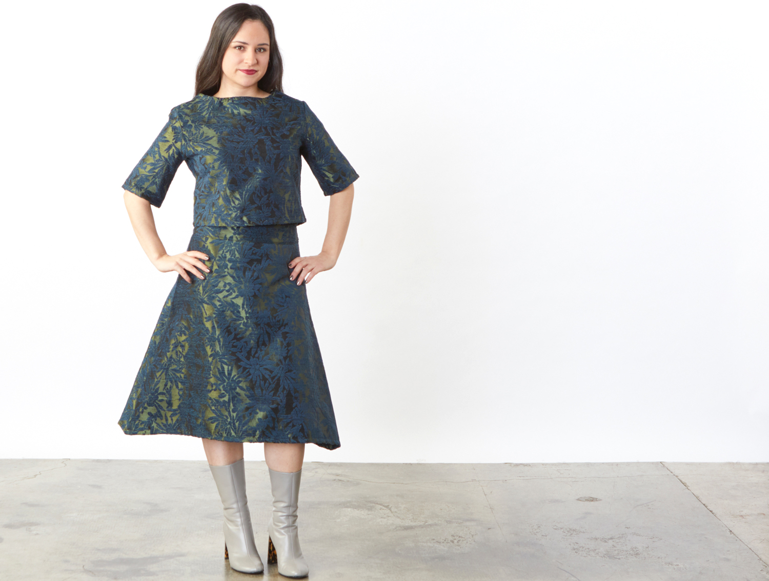 Sigi Zip Shirt, Sean Zip Skirt in Green Chenille Jacquard