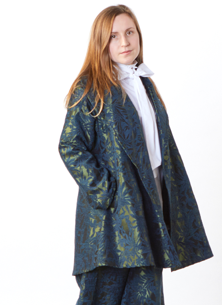 Marcella Jacket in Green Chenille Jacquard, Ribbon Tie Blouse in Stretch Poplin