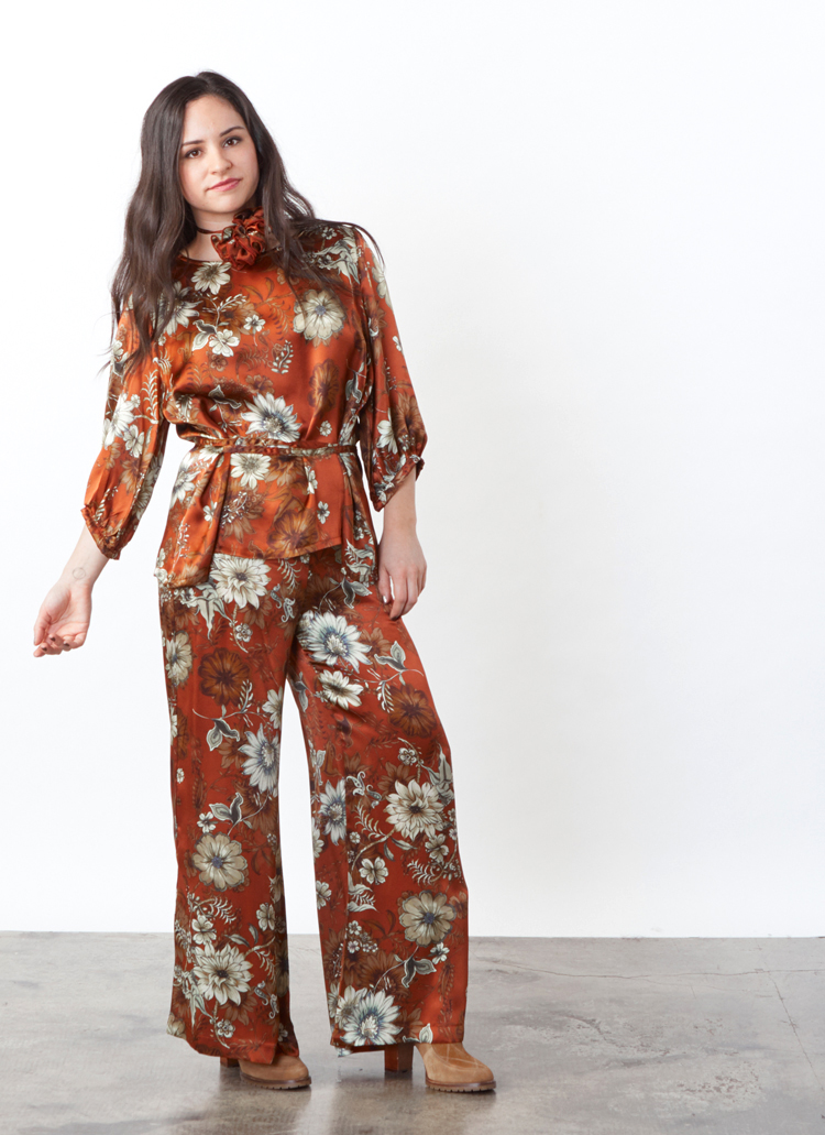 Cara Shirt, Long Full Pant in Ruggine Floral Silk Print